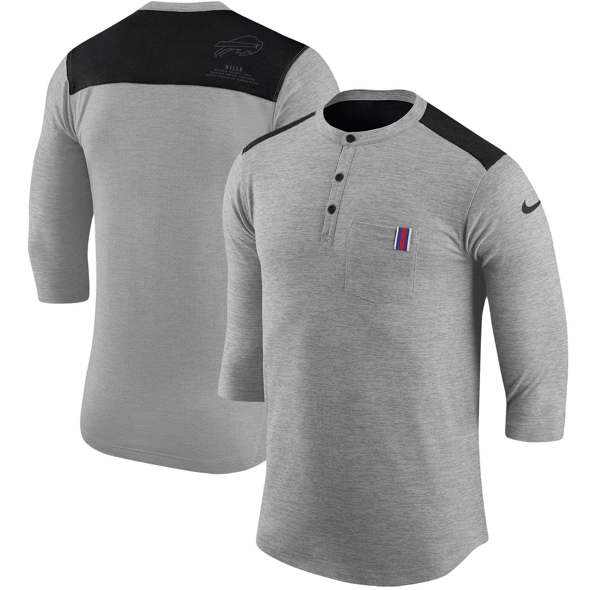 Buffalo Bills Nike Performance Henley 3/4-Sleeve T-Shirt - Heathered Gray/Black