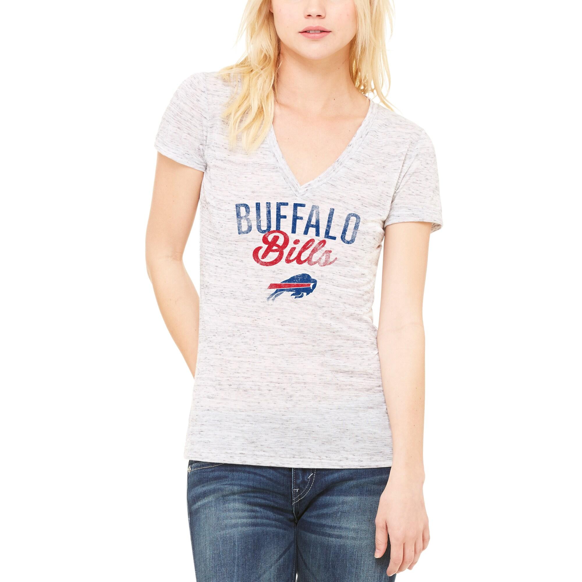 Buffalo Bills Let Loose by RNL Women's Endless V-Neck T-Shirt - White