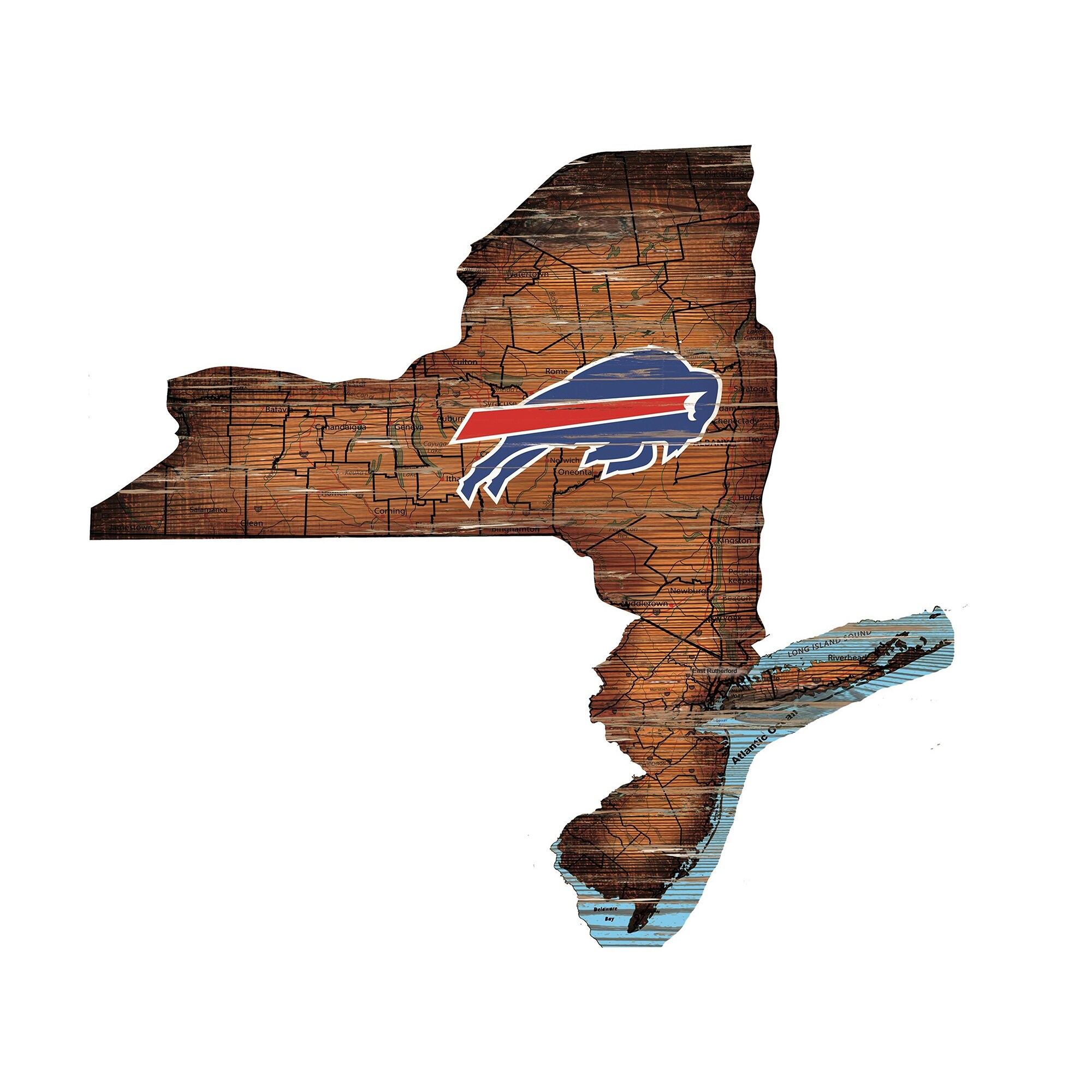 """Buffalo Bills 23.5"""" x 23.5"""" Distressed State with Logo Sign"""
