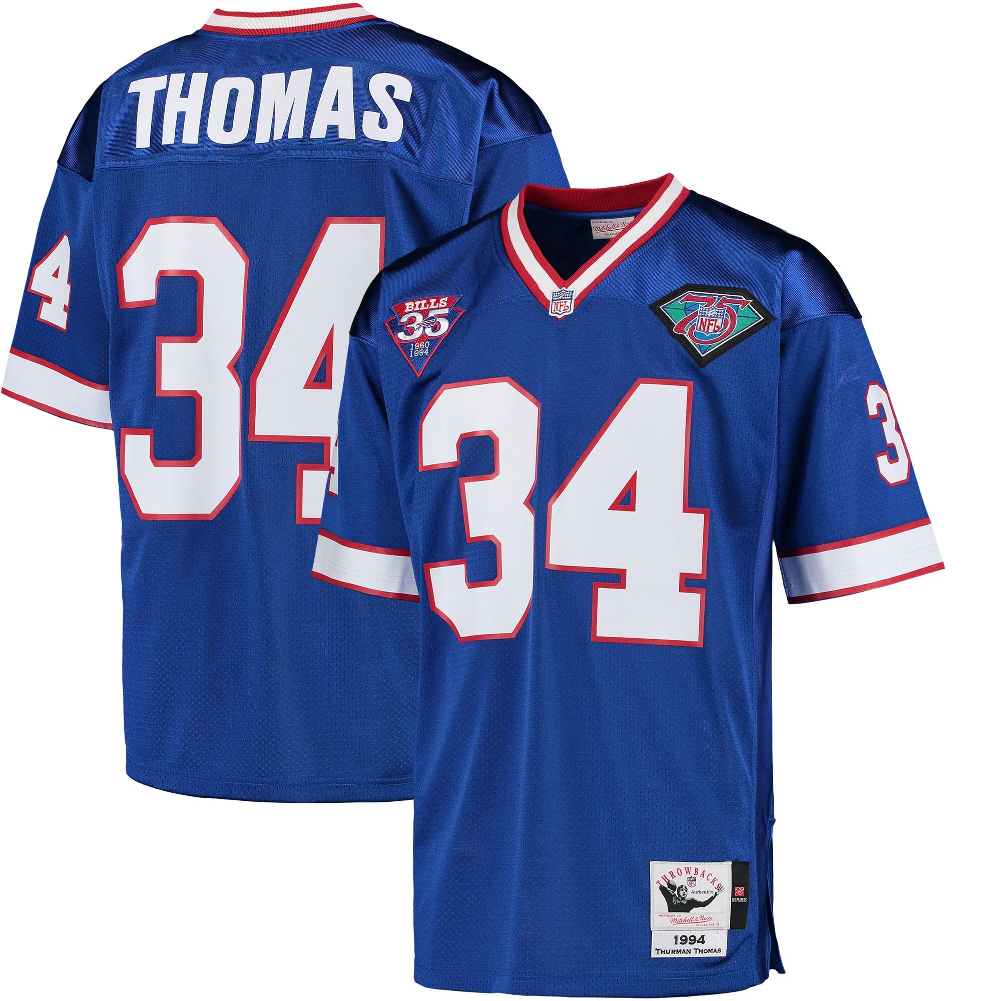 Thurman Thomas Buffalo Bills Mitchell & Ness 1994 35th Anniversary Patch Authentic Throwback Jersey - Royal