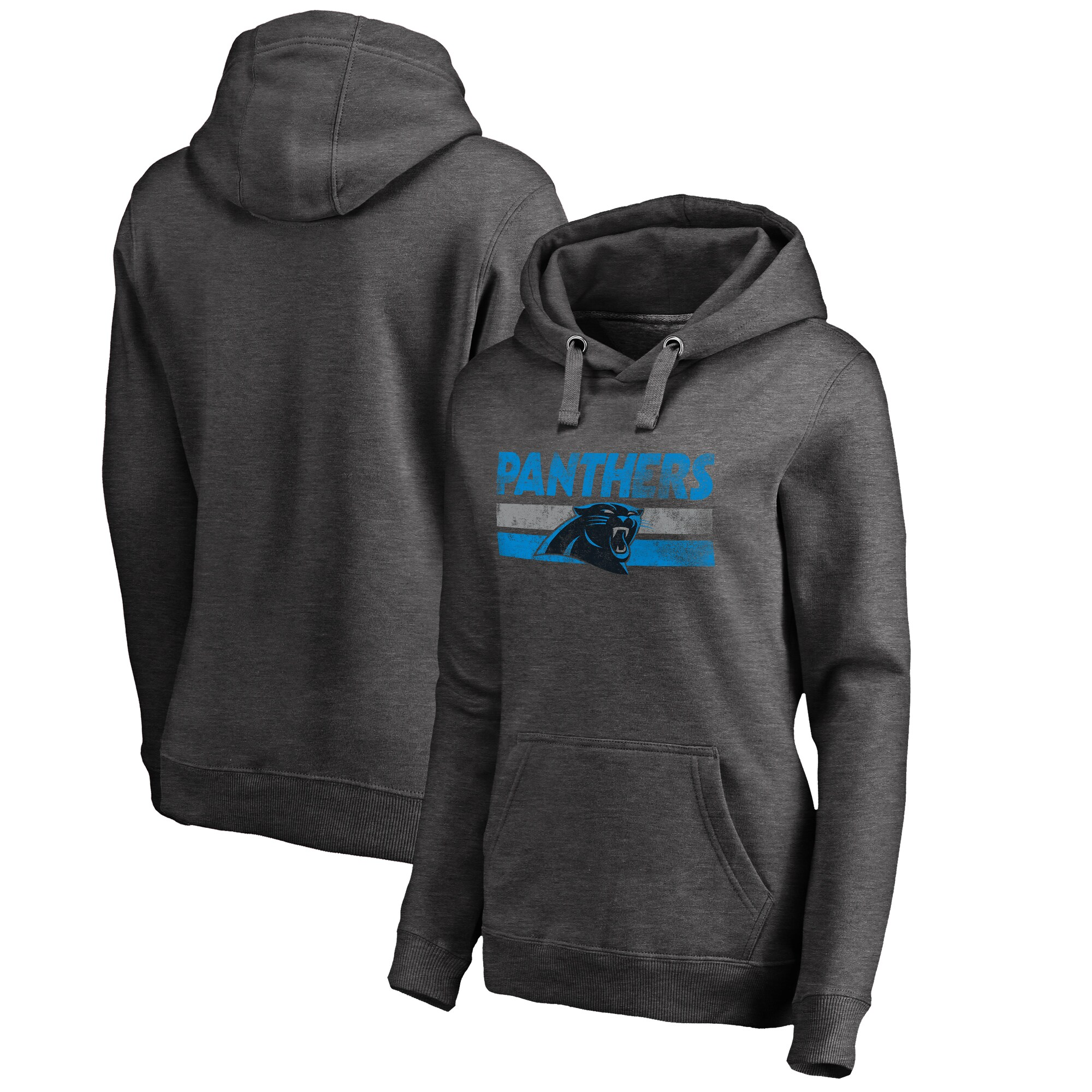 Carolina Panthers NFL Pro Line by Fanatics Branded Women's Plus Sizes First String Pullover Hoodie - Charcoal