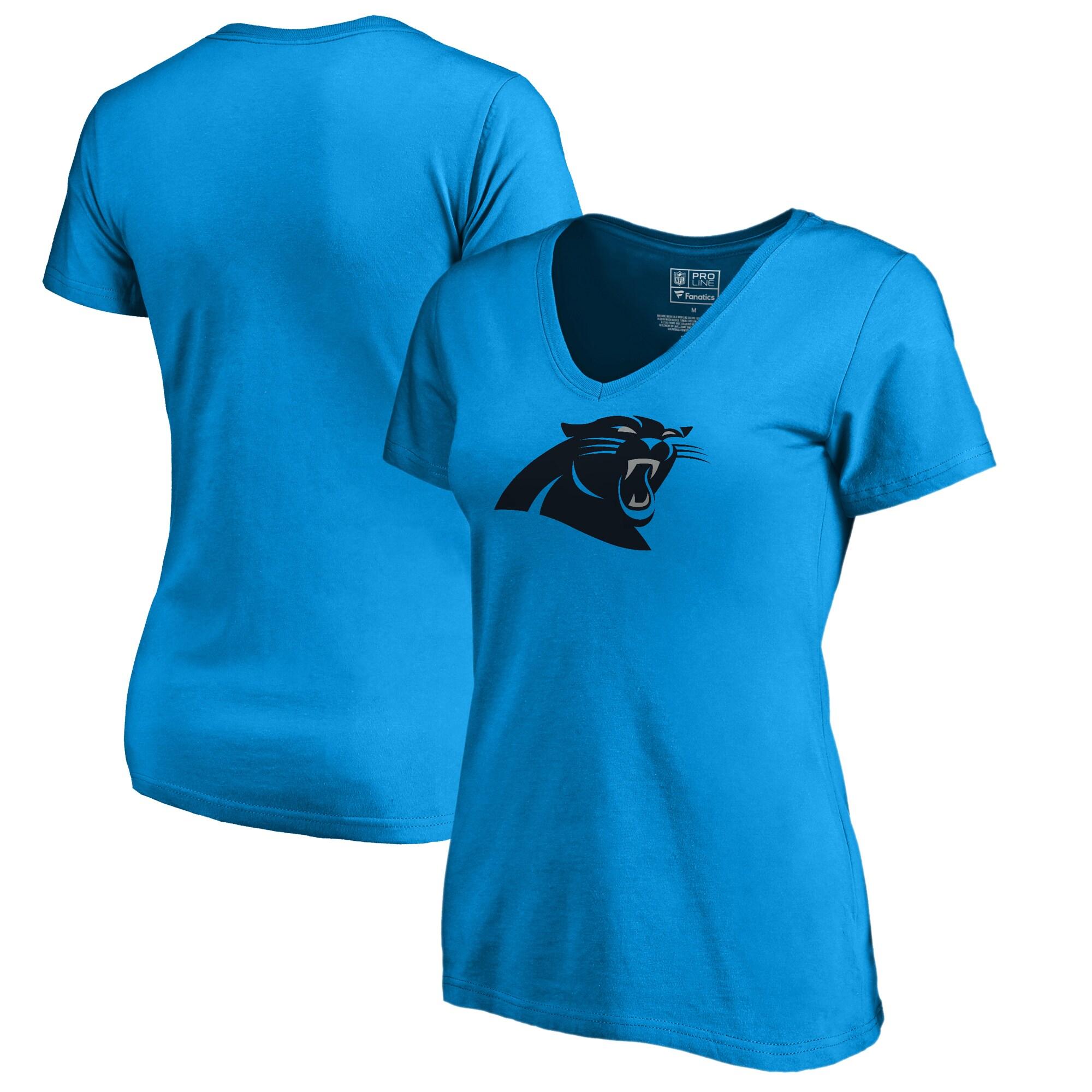 Carolina Panthers NFL Pro Line by Fanatics Branded Women's Primary Logo V-Neck T-Shirt - Blue