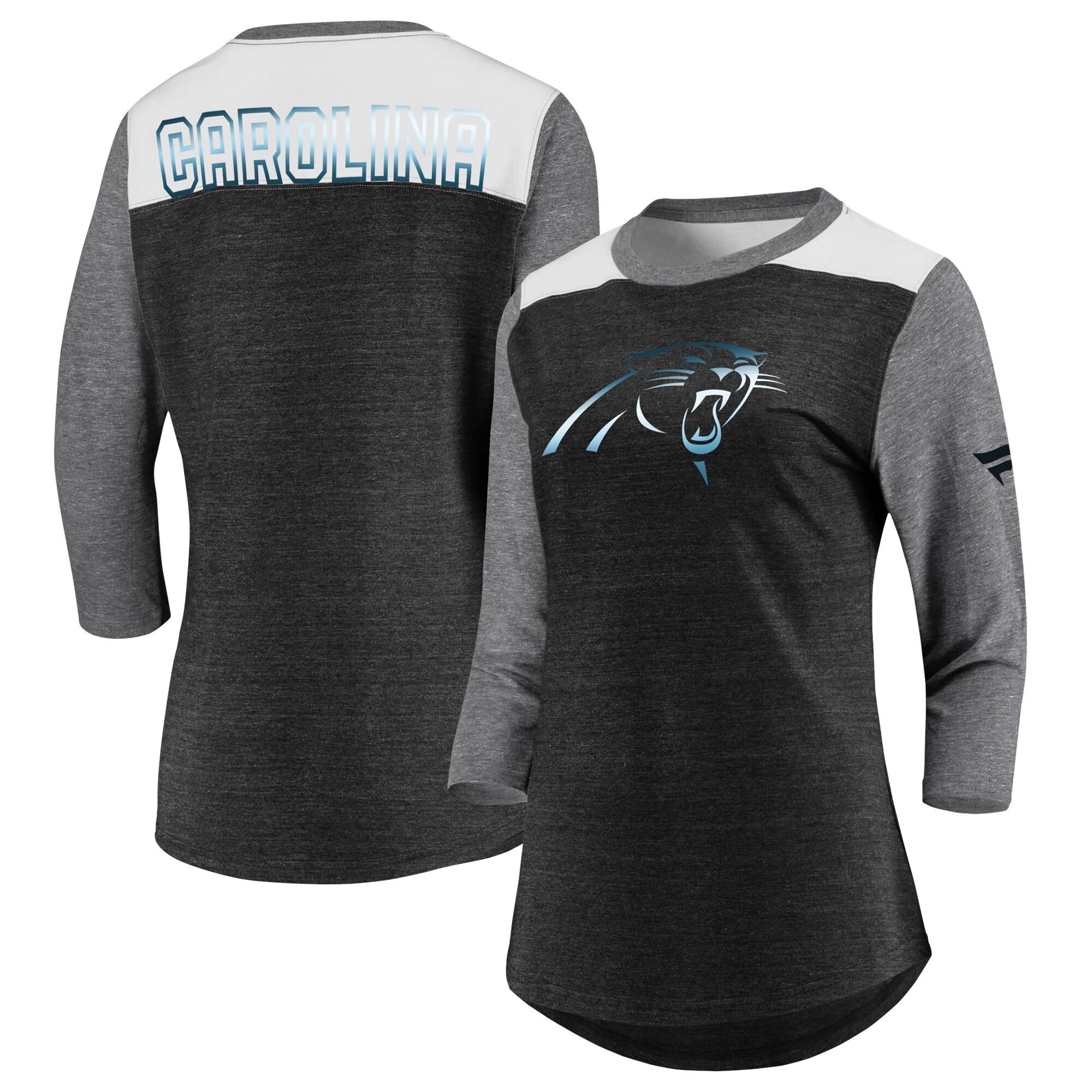 Carolina Panthers NFL Pro Line by Fanatics Branded Women's Iconic 3/4 Sleeve T-Shirt - Black/Heathered Gray