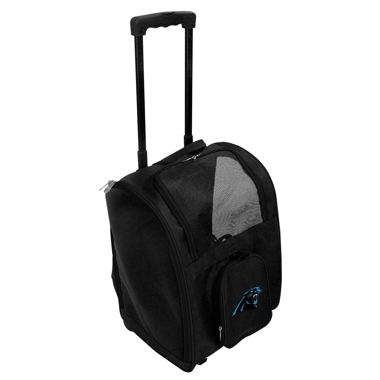 Carolina Panthers 2-Wheeled Roller Pet Carrier - Black