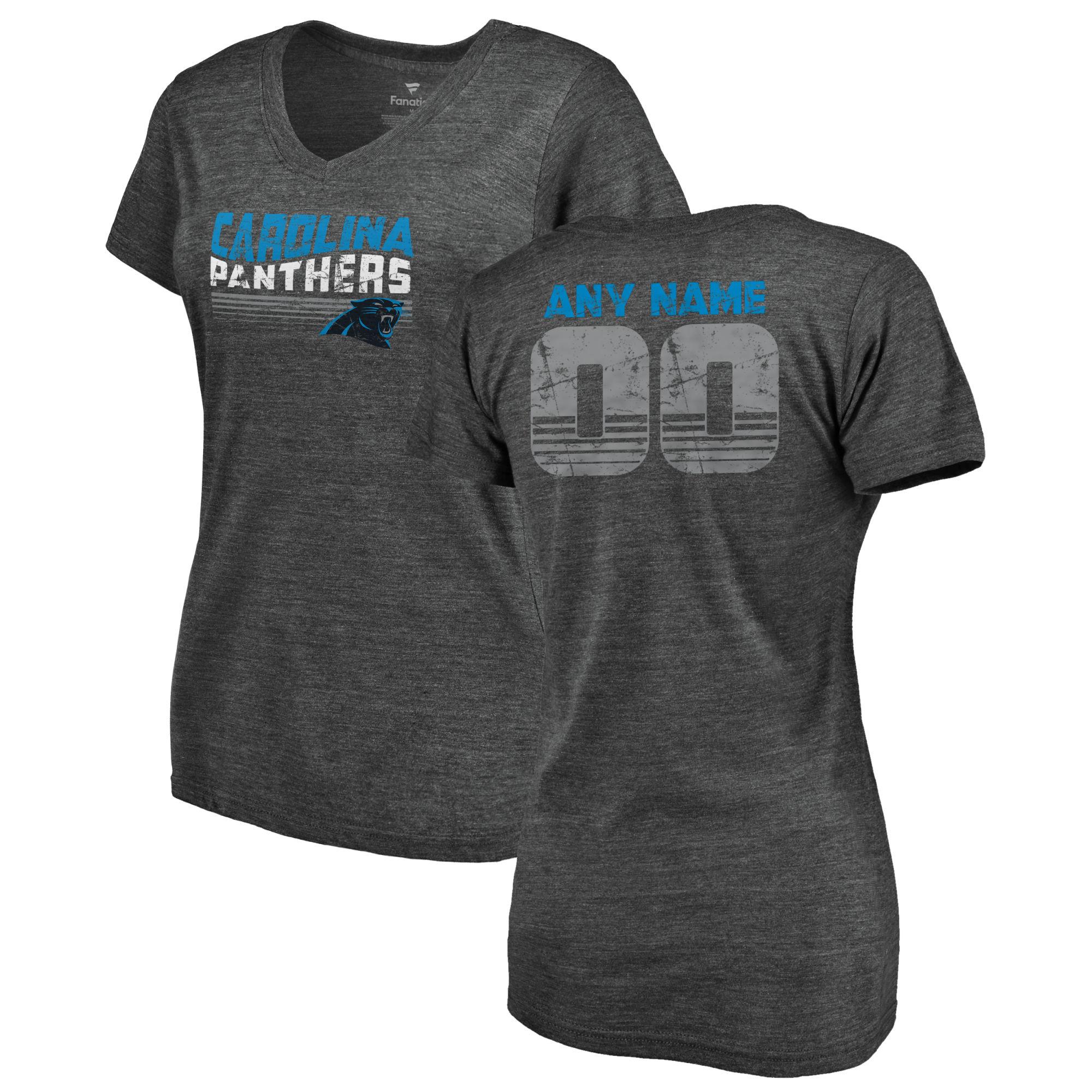 Carolina Panthers NFL Pro Line by Fanatics Branded Women's Personalized Retro Tri-Blend V-Neck T-Shirt - Black