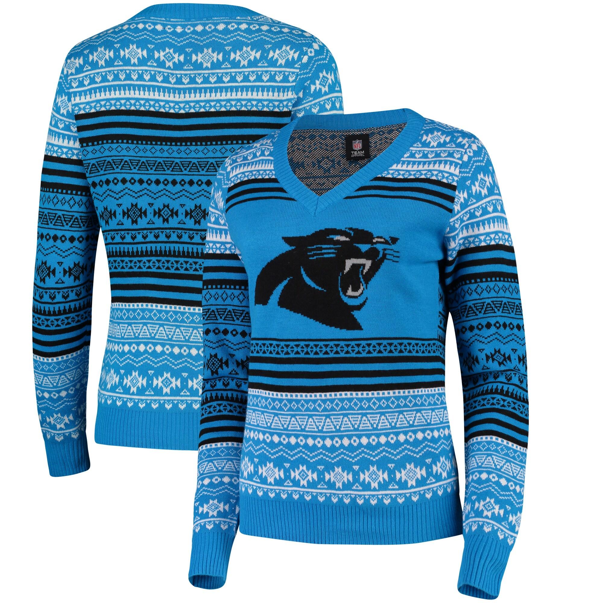 Carolina Panthers Women's Big Logo Aztec V-Neck Sweater - Blue