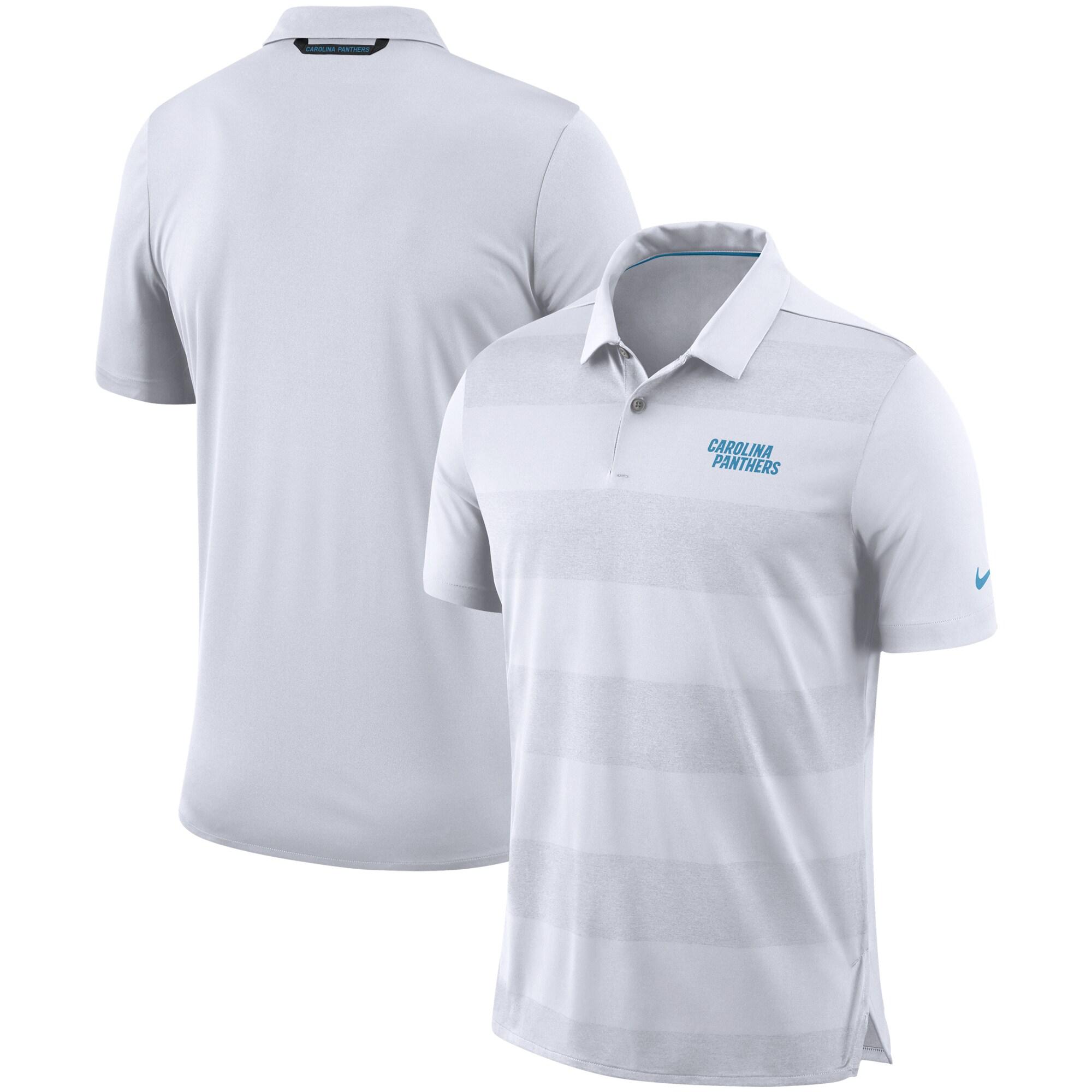 Carolina Panthers Nike Sideline Early Season Wordmark Performance Polo - White