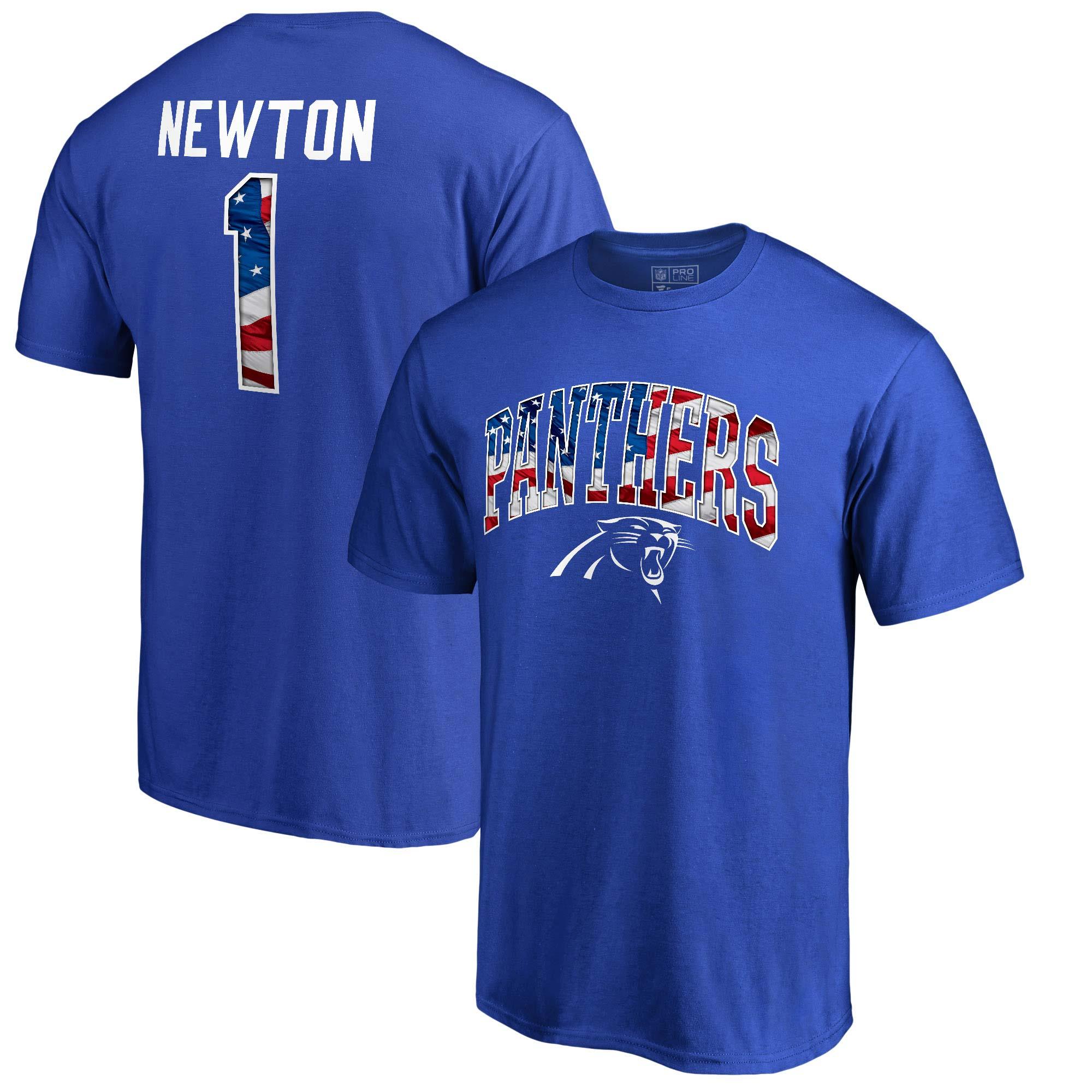 Cam Newton Carolina Panthers NFL Pro Line by Fanatics Branded Banner Wave Name & Number T-Shirt - Royal