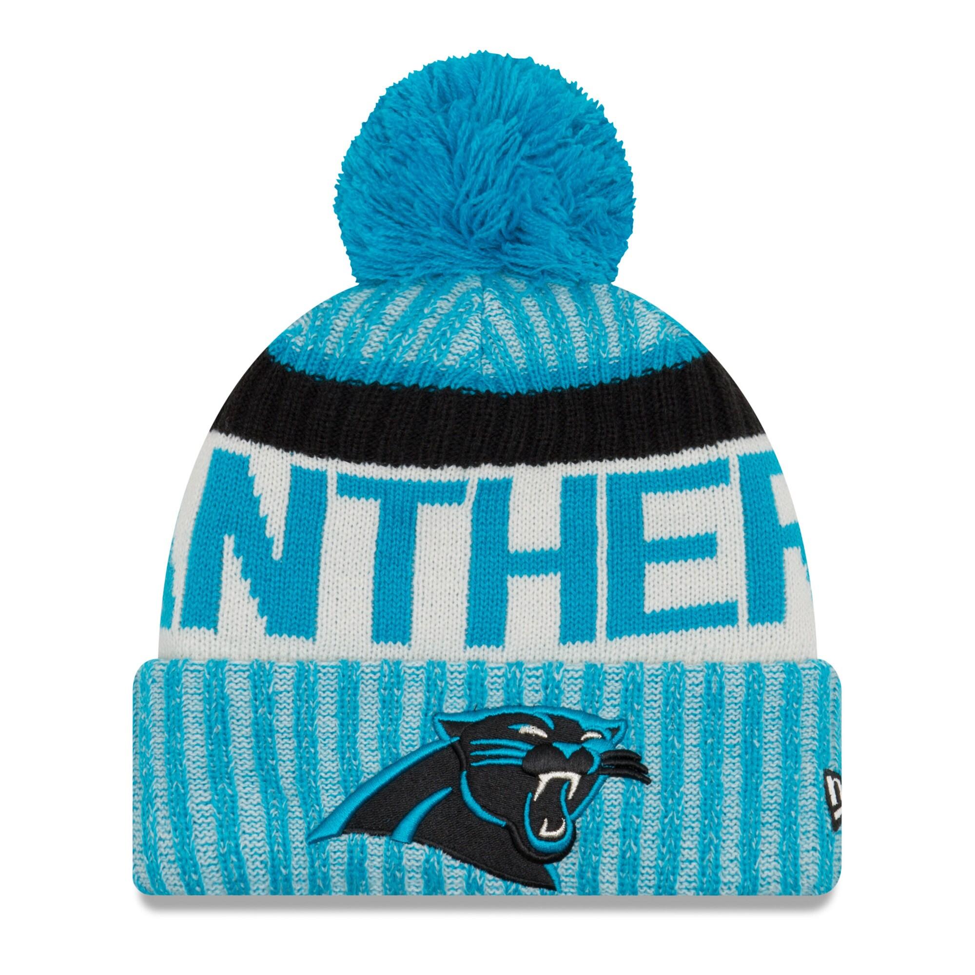 Carolina Panthers New Era Youth 2017 Sideline Official Sport Knit Hat - Blue