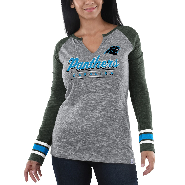 Carolina Panthers Majestic Women's Lead Play Long Sleeve V-Notch T-Shirt - Heathered Gray/Charcoal