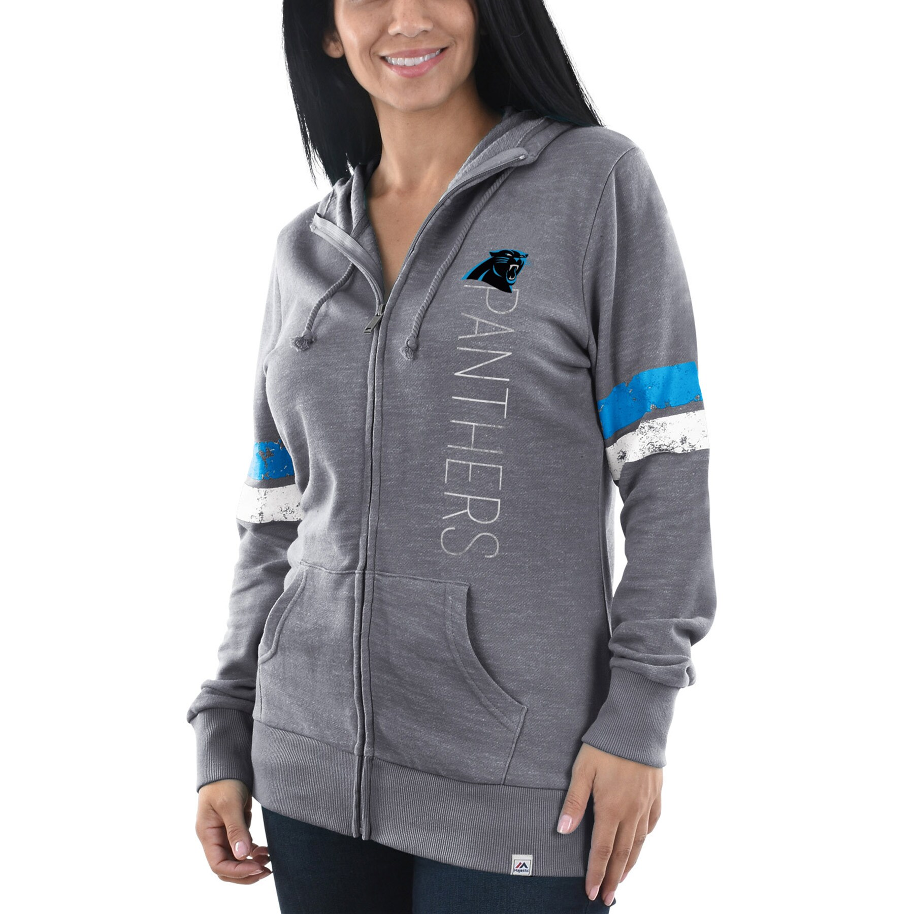 Carolina Panthers Majestic Women's Athletic Tradition Full-Zip Hoodie - Heathered Gray