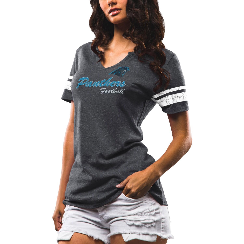 Carolina Panthers Majestic Women's Game Tradition Tri-Blend V-Neck T-Shirt - Charcoal