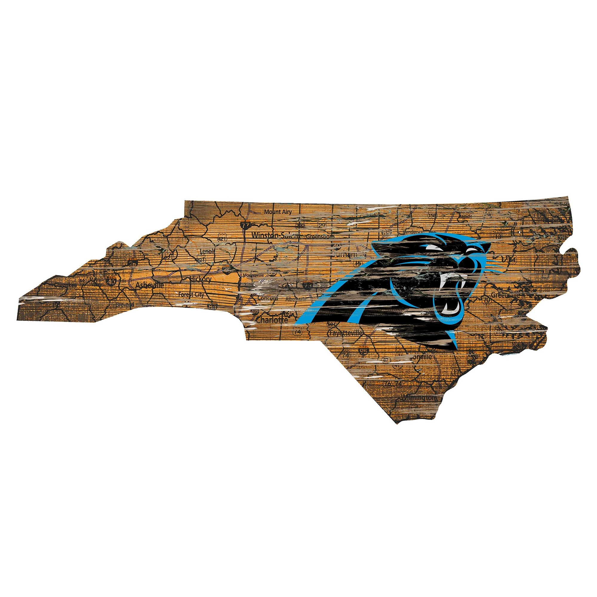 """Carolina Panthers 23.5"""" x 23.5"""" Distressed State with Logo Sign"""