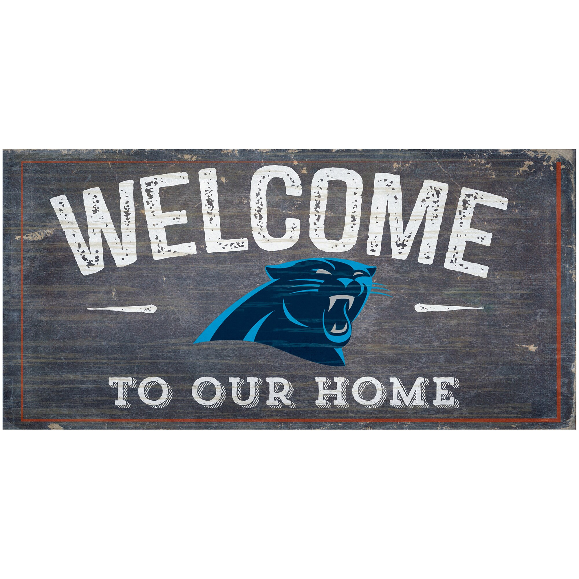 """Carolina Panthers 6"""" x 12"""" Welcome To Our Home Sign"""