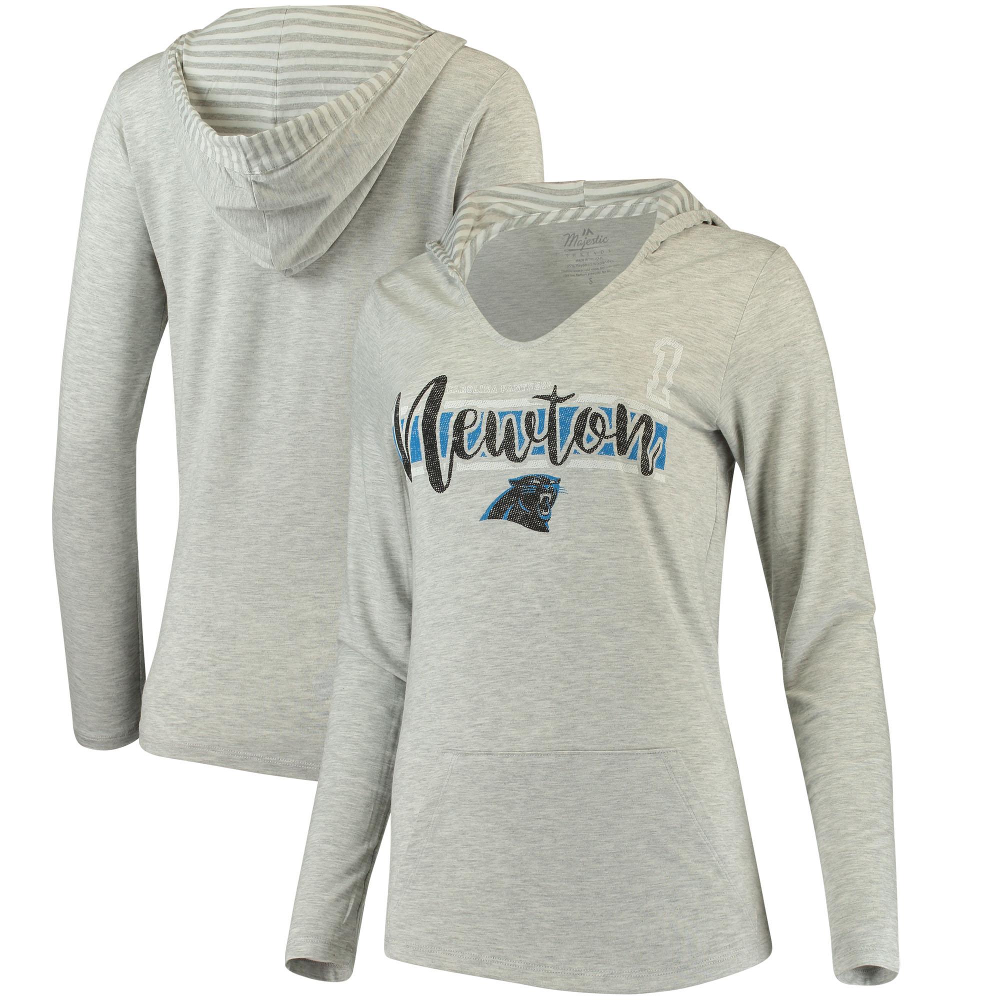 Cam Newton Carolina Panthers Women's Pocket Name & Number Hoodie T-Shirt - Gray