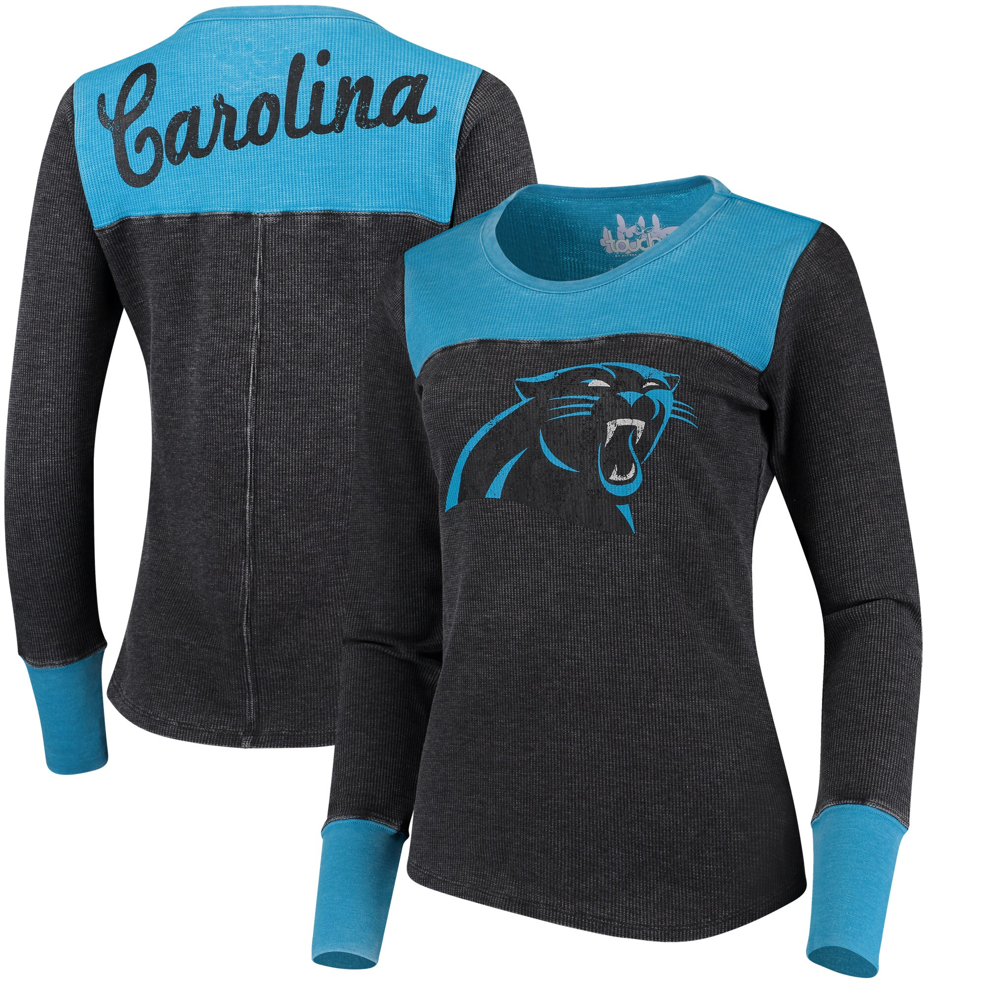 Carolina Panthers Touch by Alyssa Milano Women's Blindside Long Sleeve Tri-Blend Thermal T-Shirt - Black/Blue