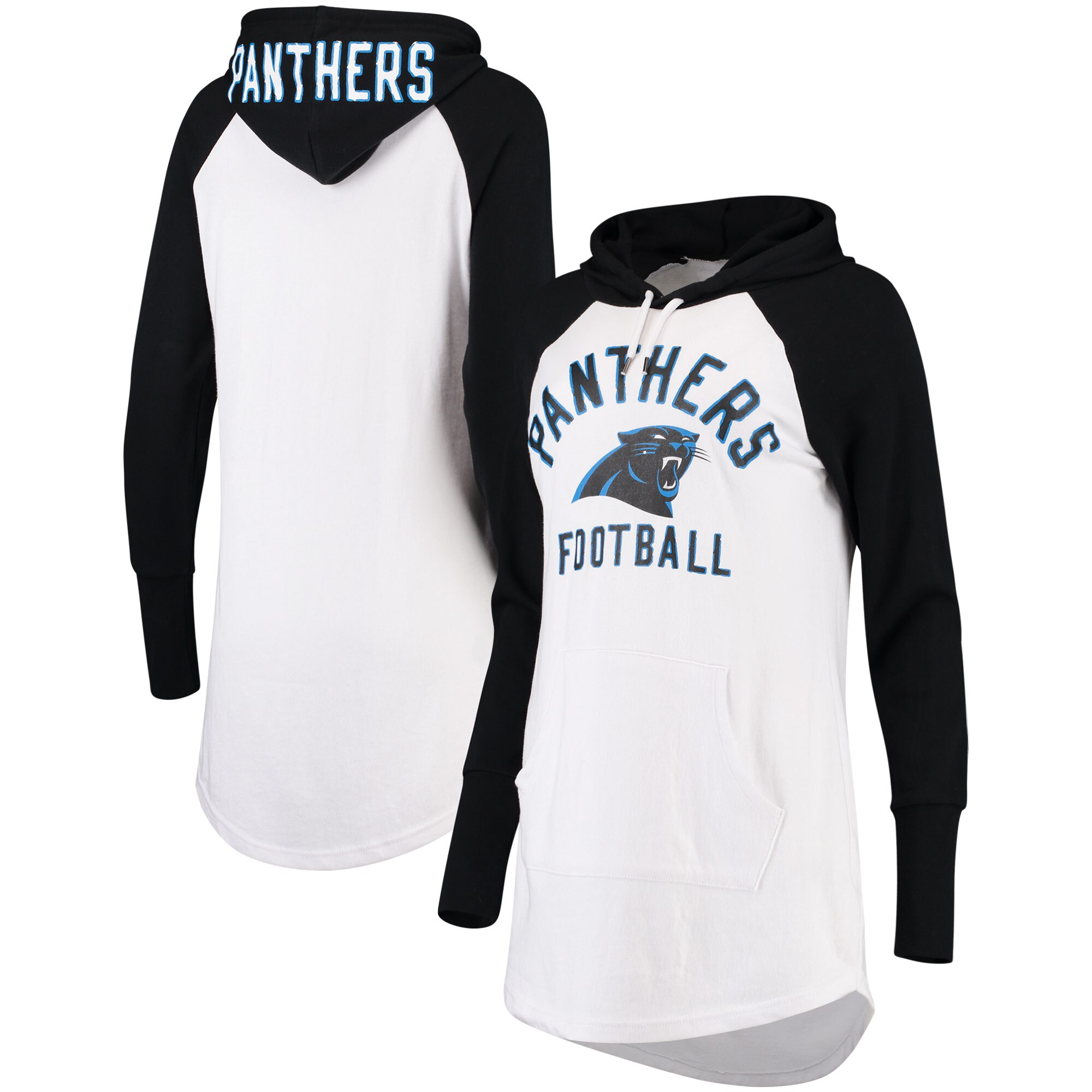 Carolina Panthers G-III 4Her by Carl Banks Women's All Division Raglan Sleeve Pullover Hoodie - White/Black