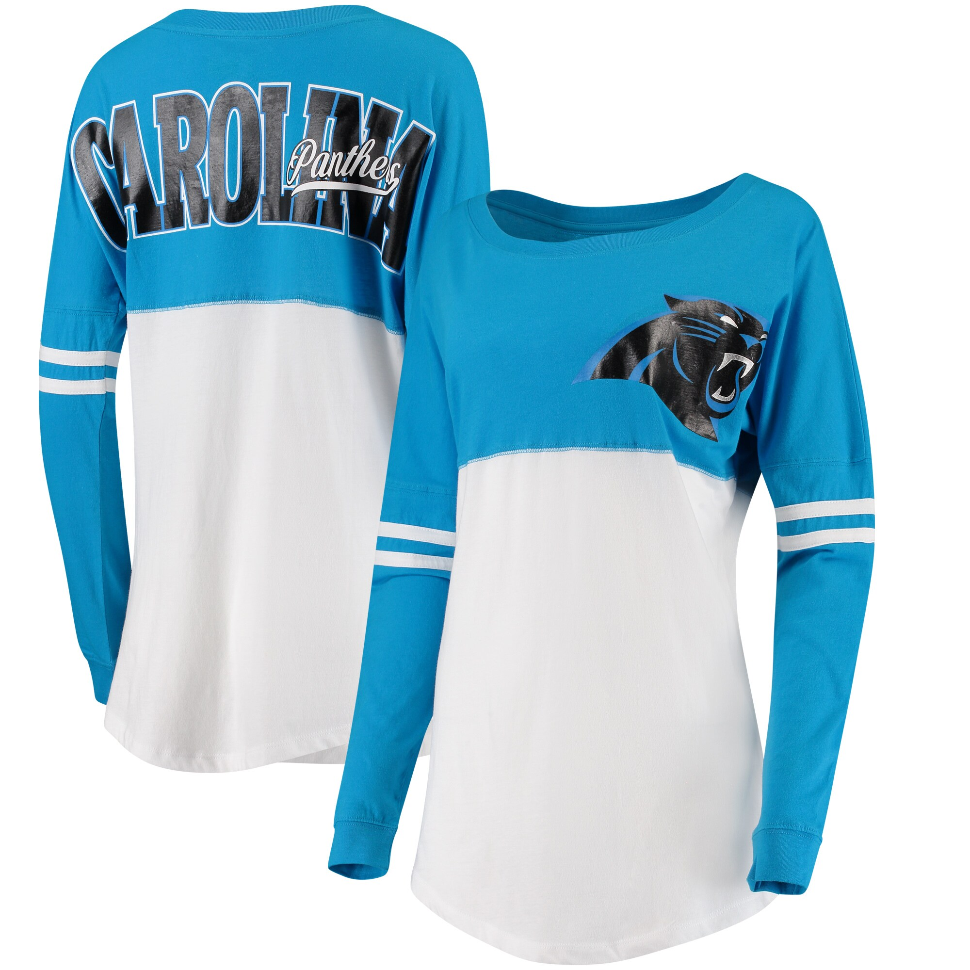 Carolina Panthers 5th & Ocean by New Era Women's Team Logo Athletic Varsity Long Sleeve T-Shirt - Blue/White