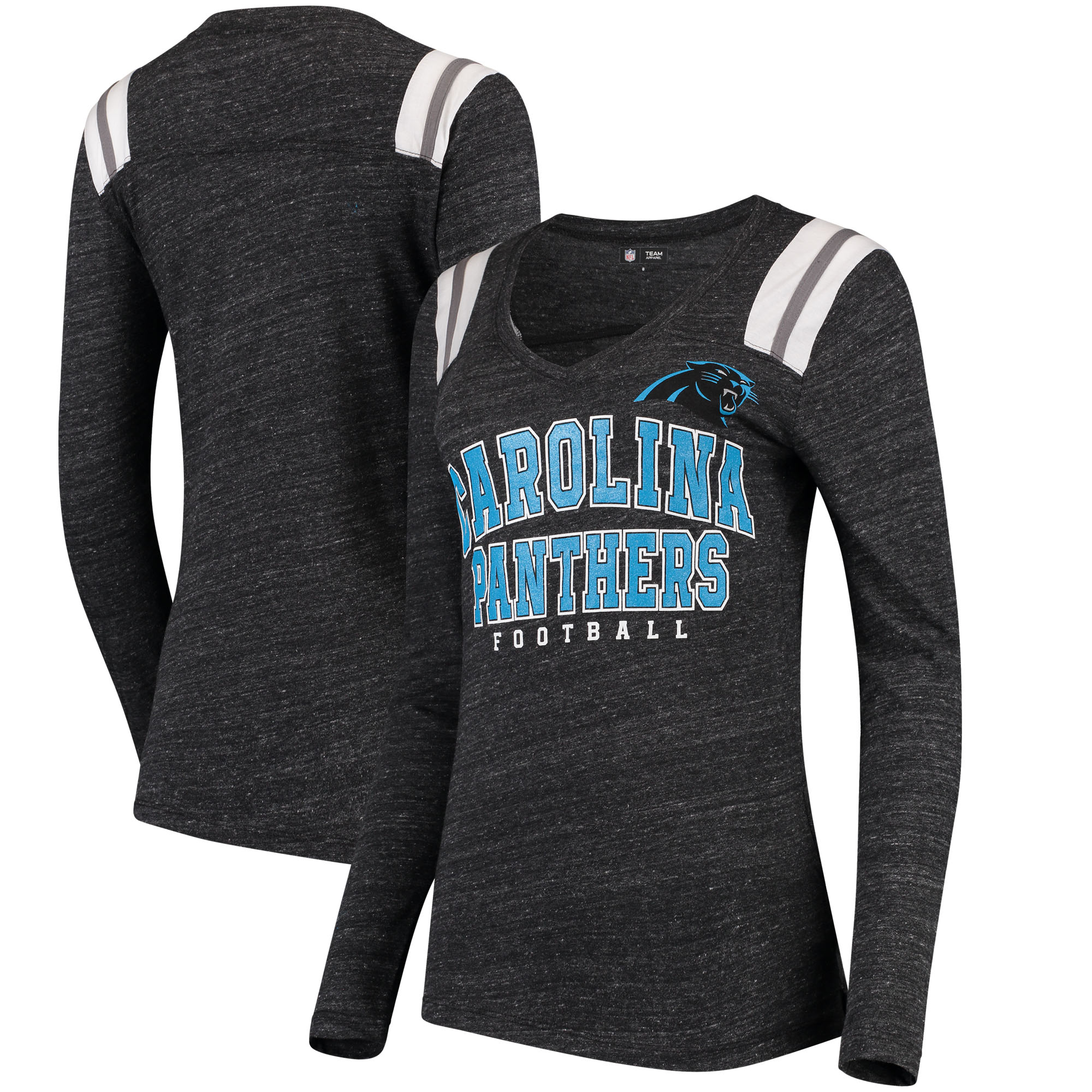 Carolina Panthers 5th & Ocean by New Era Women's Tri-Blend Long Sleeve V-Neck T-Shirt - Black