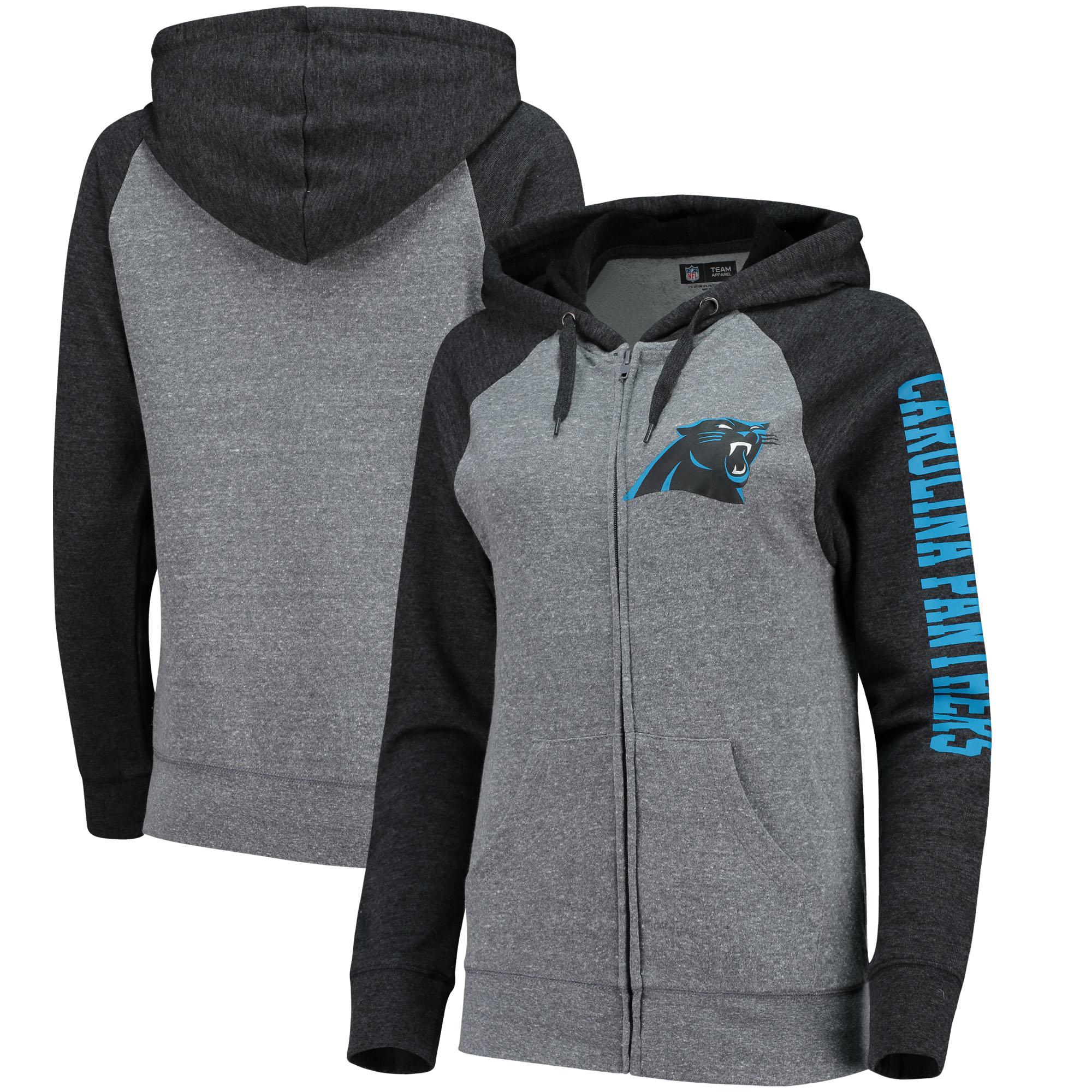 Carolina Panthers 5th & Ocean by New Era Women's Fleece Tri-Blend Raglan Sleeve Full-Zip Hoodie - Heathered Gray/Black