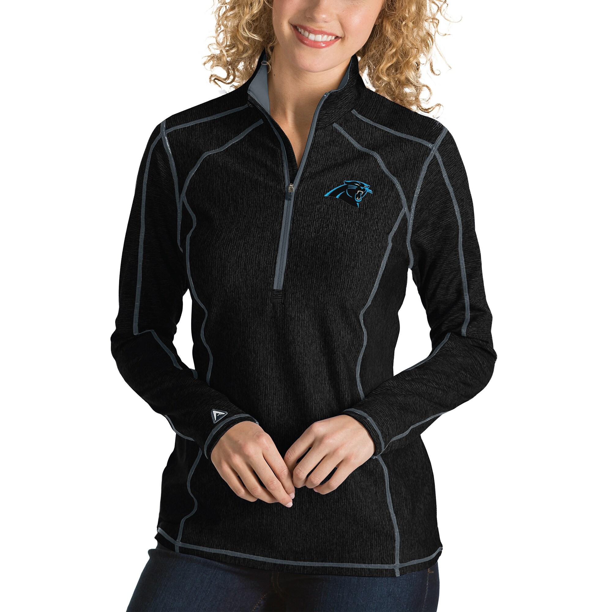 Carolina Panthers Antigua Women's Tempo Desert Dry Quarter-Zip Jacket - Heather Black