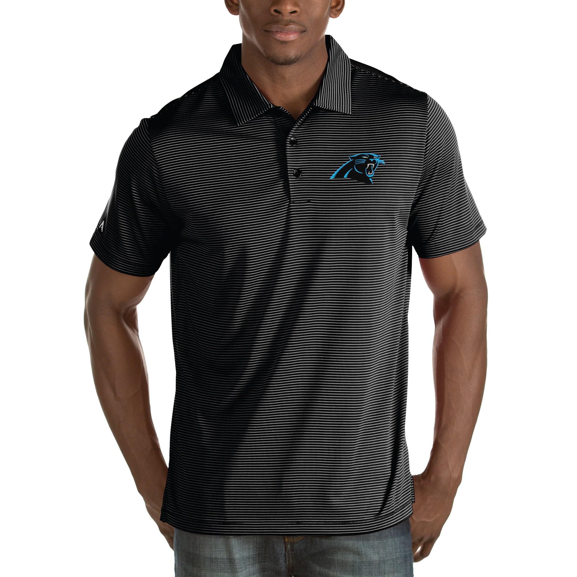 Carolina Panthers Antigua Quest Stripe Polo - Black