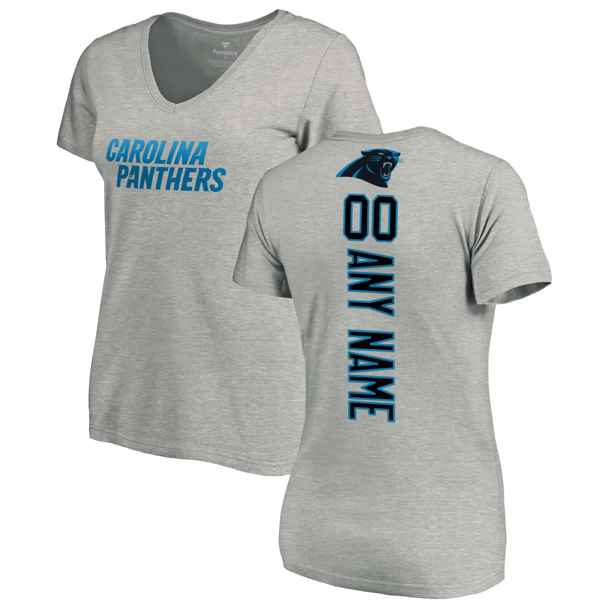 Carolina Panthers NFL Pro Line Women's Personalized Playmaker V-Neck T-Shirt - Ash
