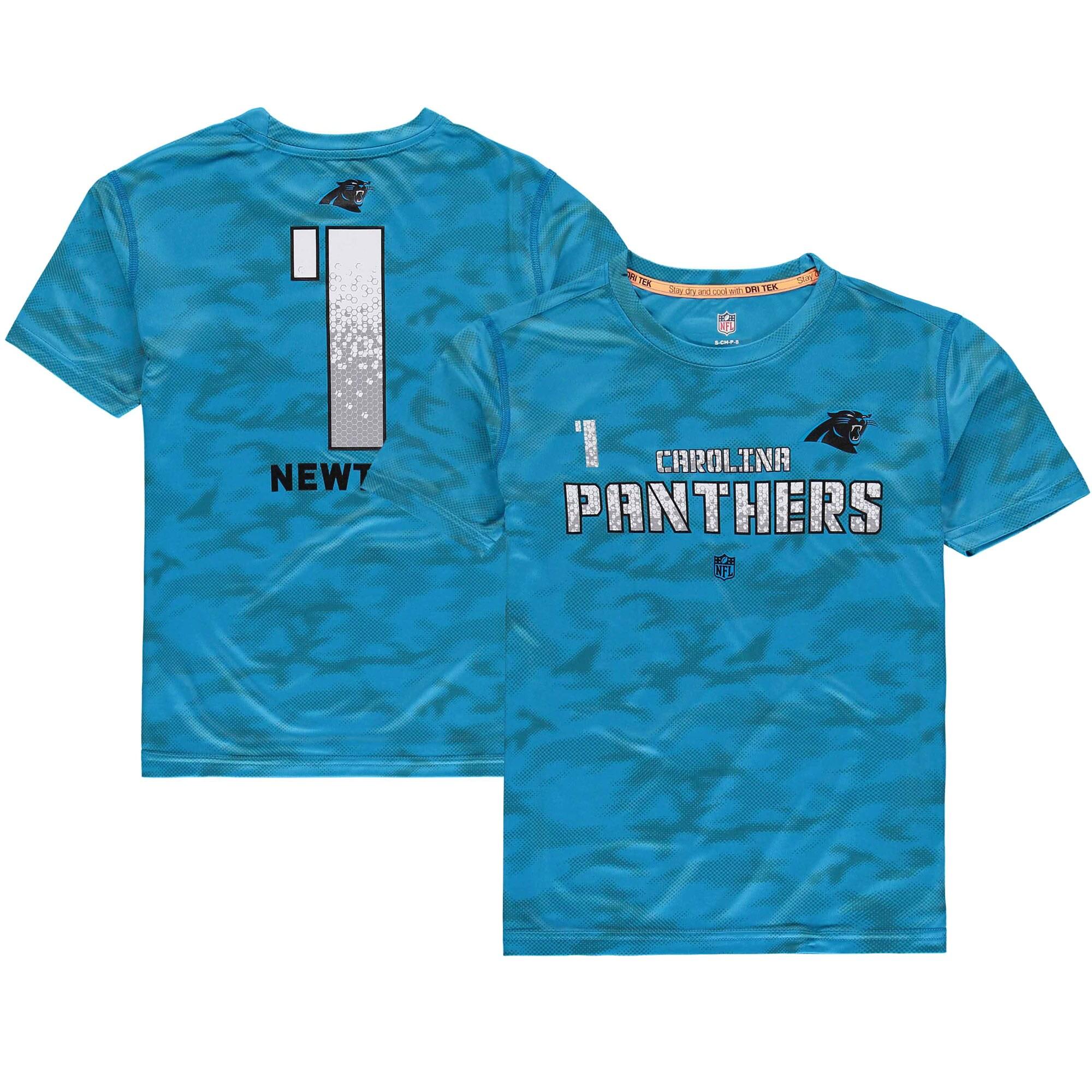 Cam Newton Carolina Panthers Youth Vector Camo Dri-Tek Name & Number T-Shirt - Blue