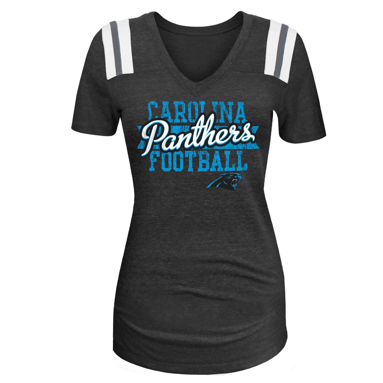Carolina Panthers 5th & Ocean by New Era Women's 4th Quarter Glitter Tri-Blend V-Neck T-Shirt - Black