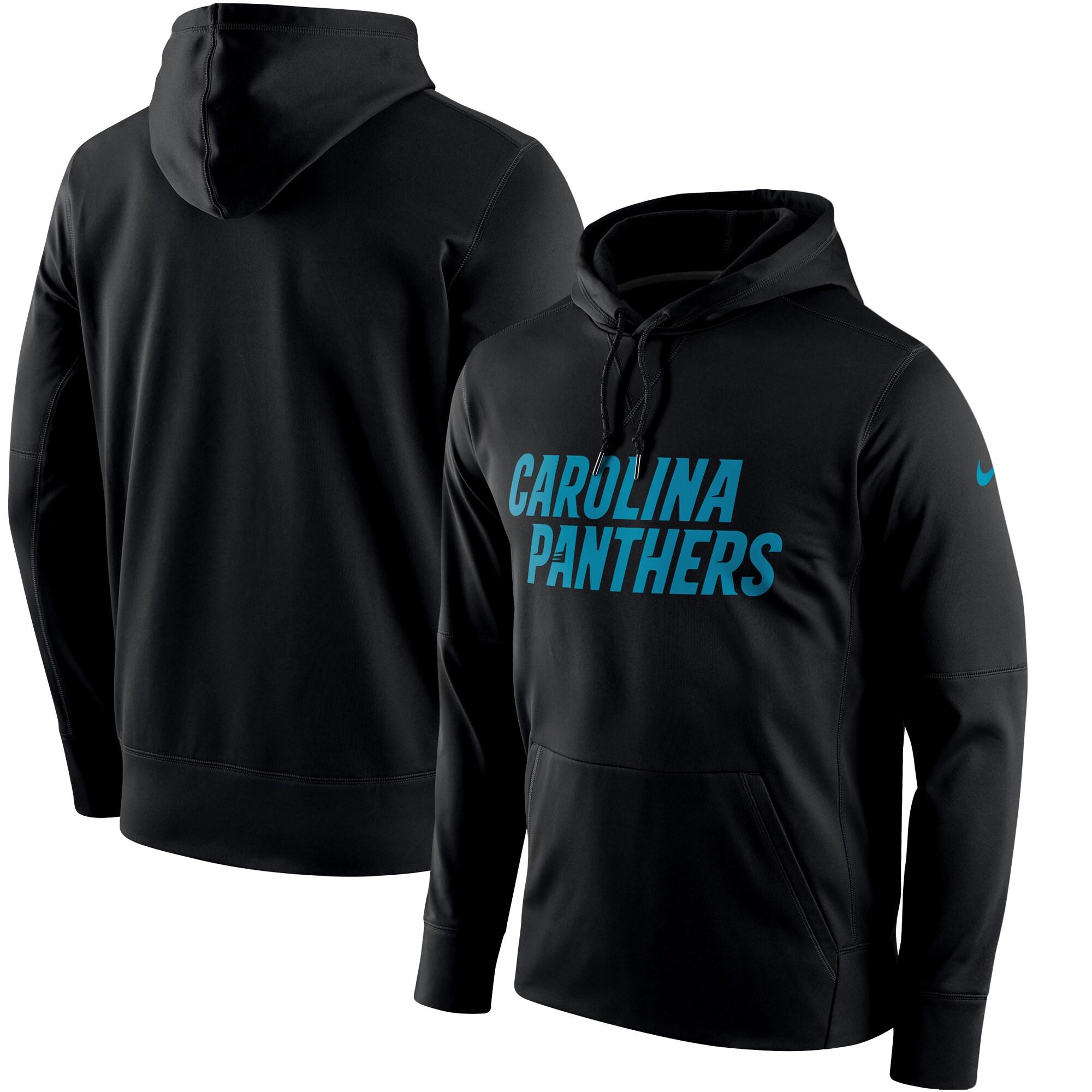 Carolina Panthers Nike Circuit Wordmark Essential Performance Pullover Hoodie - Black