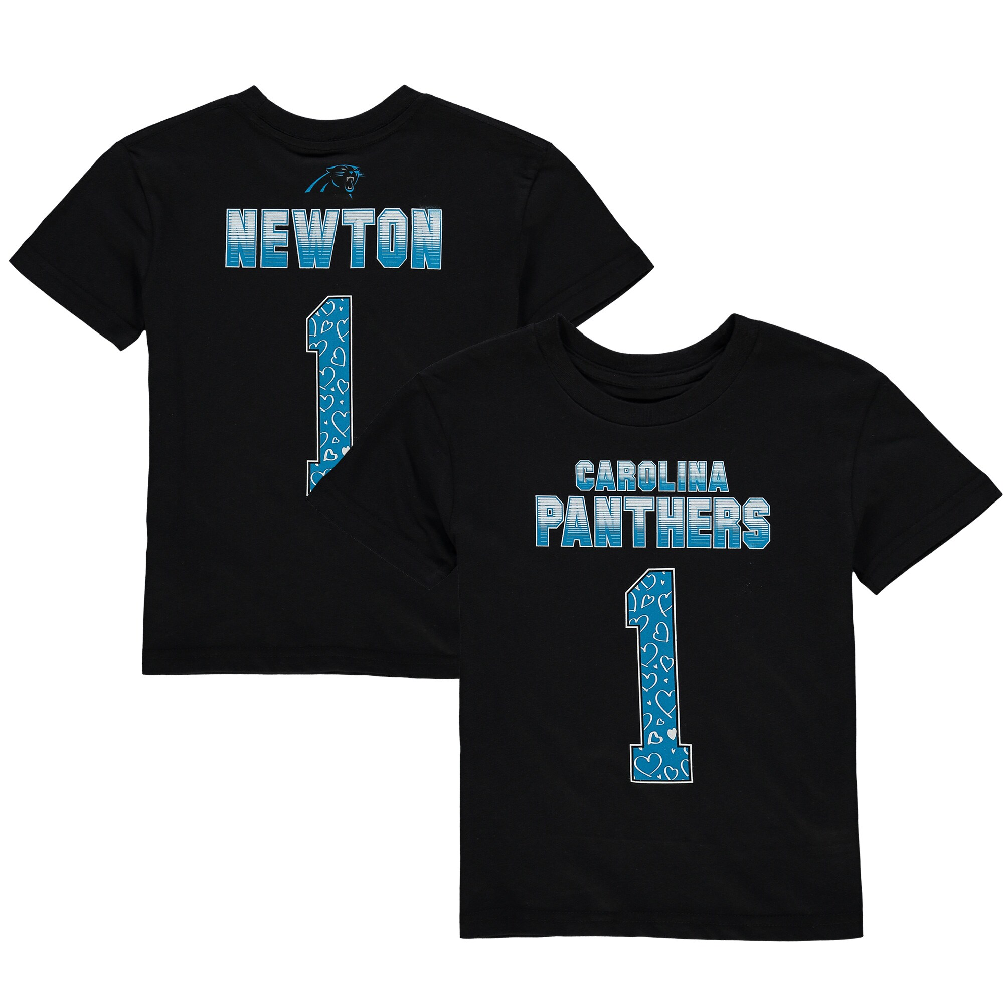 Cam Newton Carolina Panthers Girls Preschool Fade Route Name & Number T-Shirt - Black