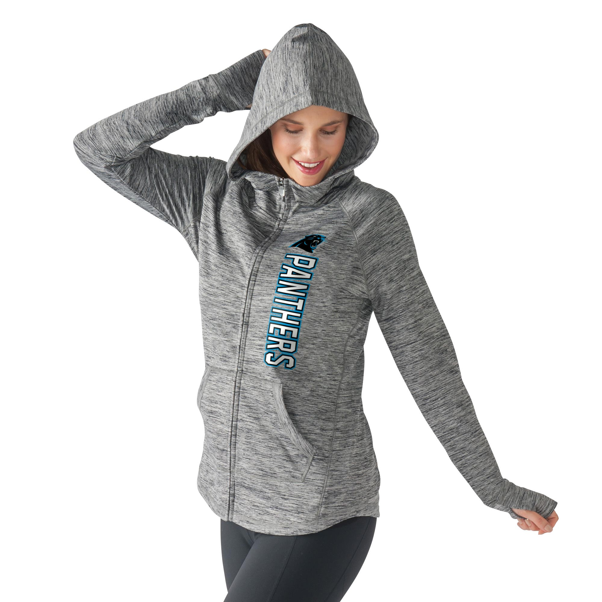 Carolina Panthers G-III 4Her by Carl Banks Women's Recovery Full-Zip Hoodie - Heathered Gray