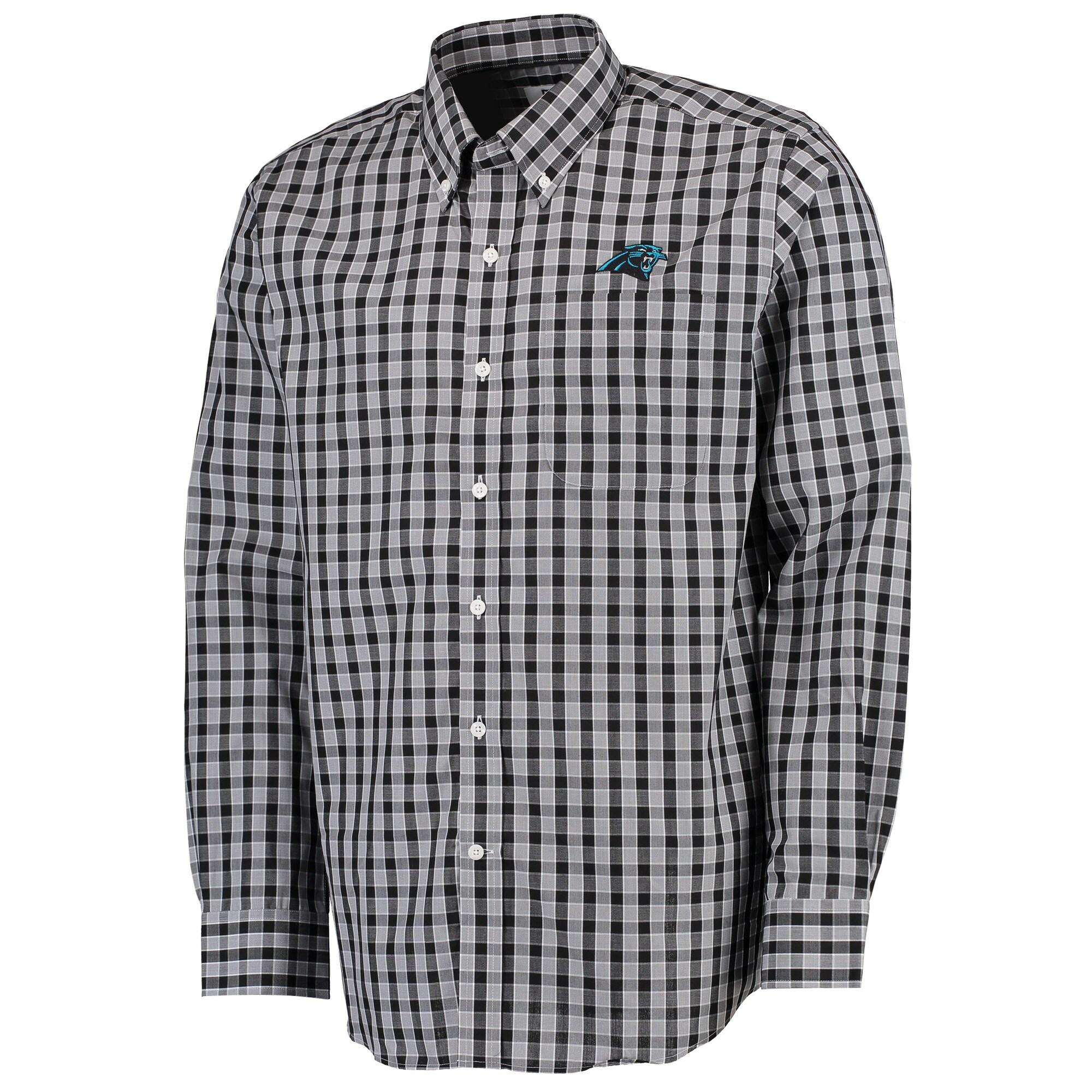 Carolina Panthers Cutter & Buck Discovery Park Plaid Long Sleeve Woven Shirt - Black