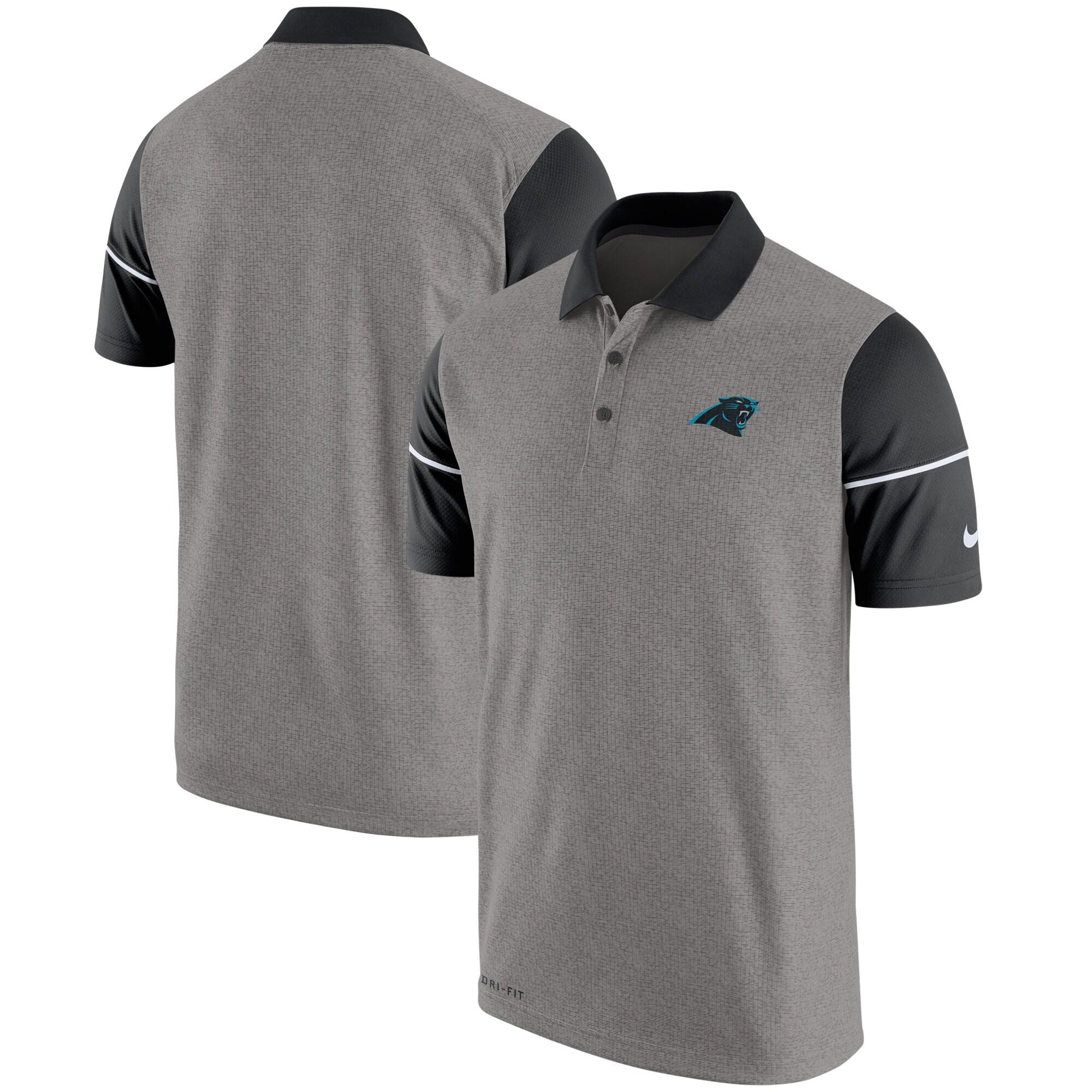 Carolina Panthers Nike Champ Drive Sideline Performance Polo - Heathered Gray