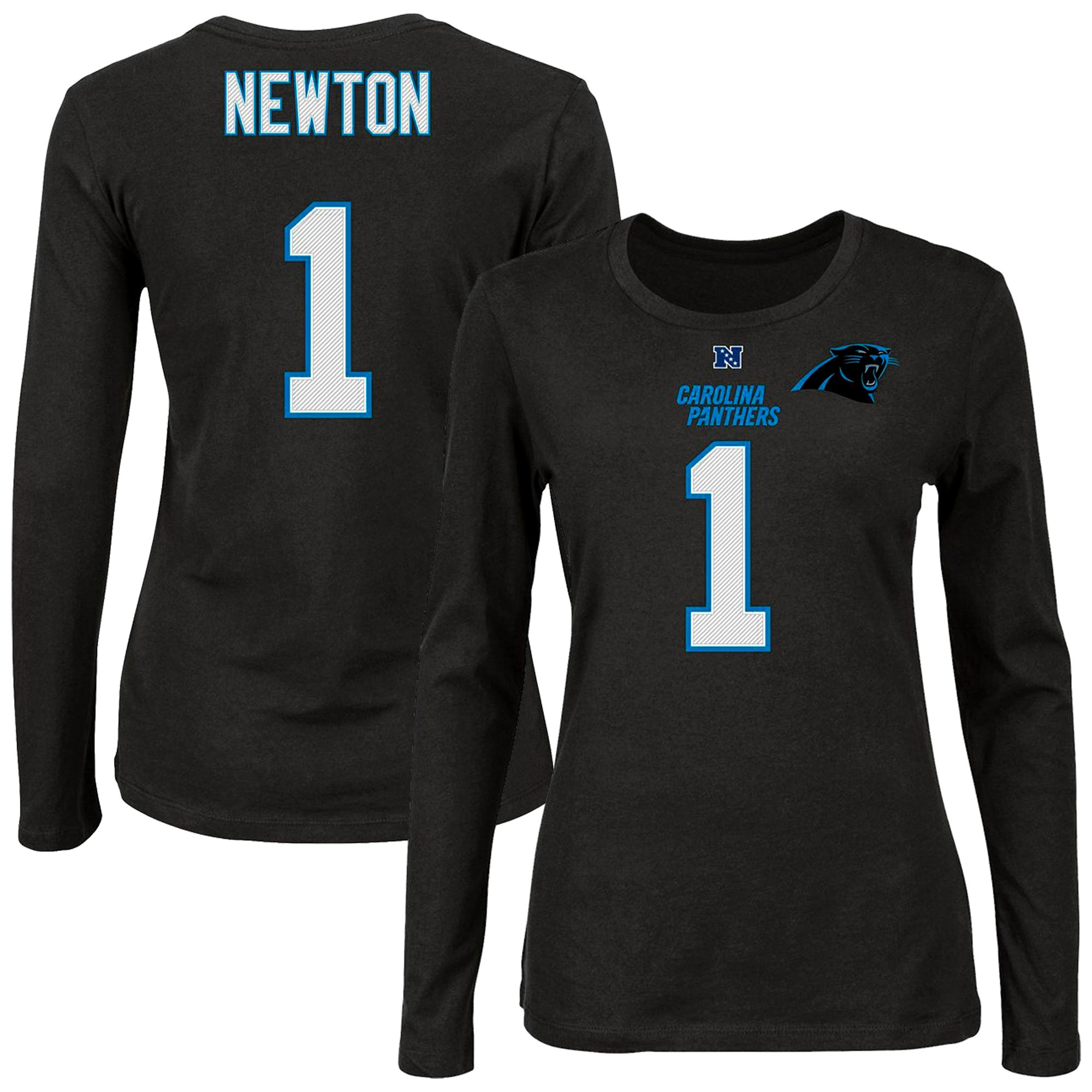 Cam Newton Carolina Panthers Majestic Women's Plus Size Her Catch Player Name & Number Long Sleeve T-Shirt - Black