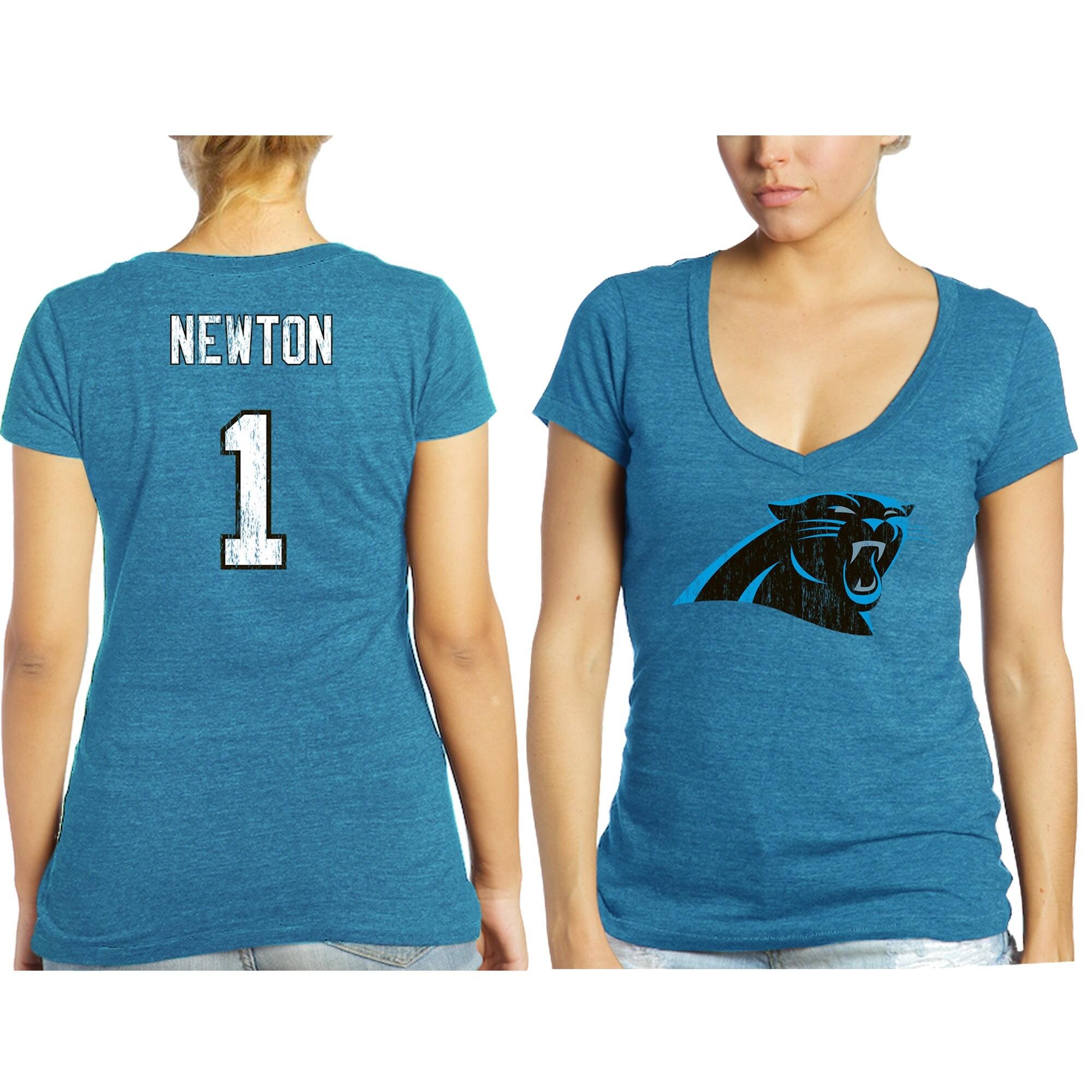 Cam Newton Carolina Panthers Tri-Blend Name & Number T-Shirt - Blue -