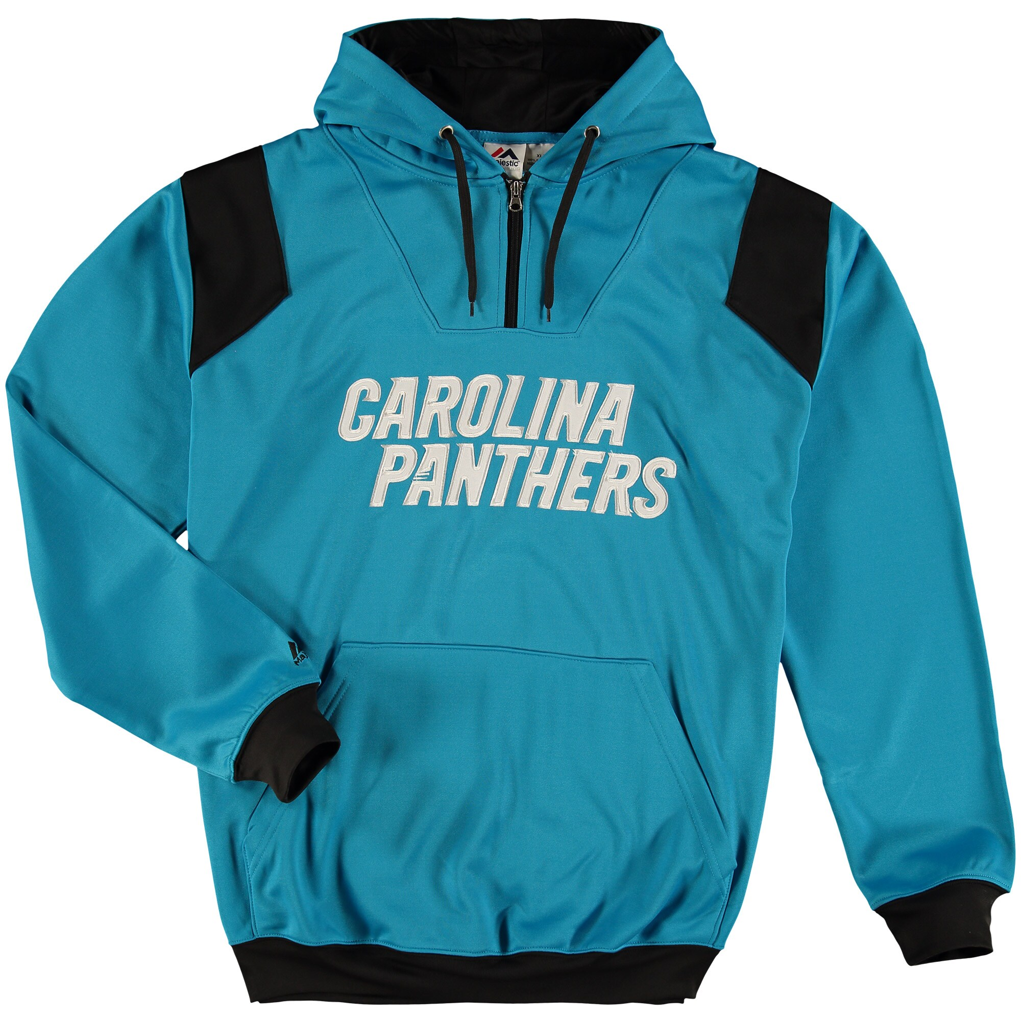 Carolina Panthers Majestic Big & Tall 1/4-Zip Pullover Hoodie - Blue