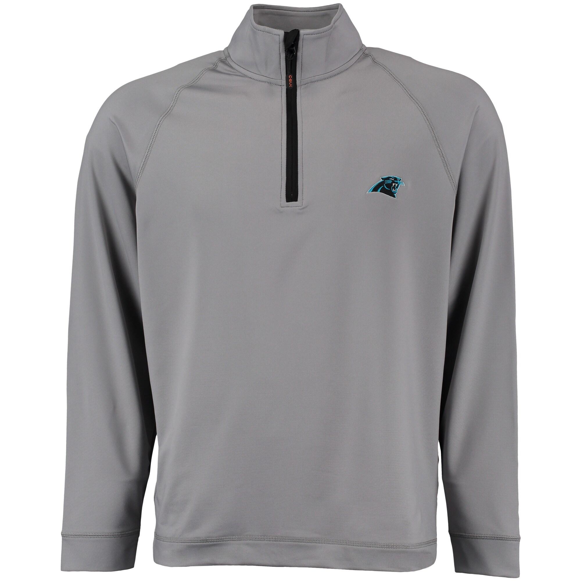 Carolina Panthers CBUK by Cutter & Buck Jackson Half-Zip Overknit Jacket - Gray