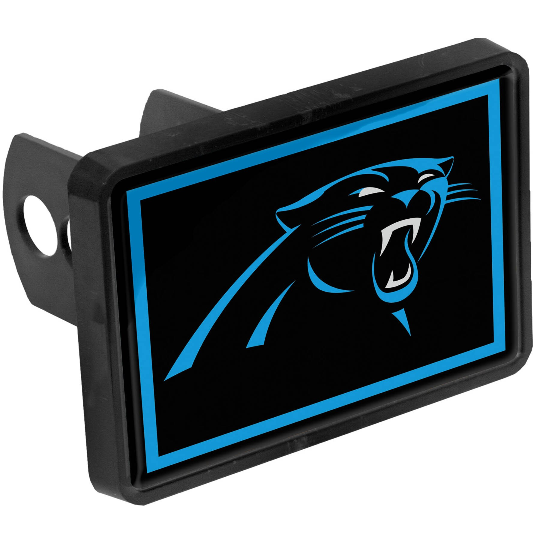 "Carolina Panthers Logo 1.25"" x 2"" Universal Plastic Hitch Cover"