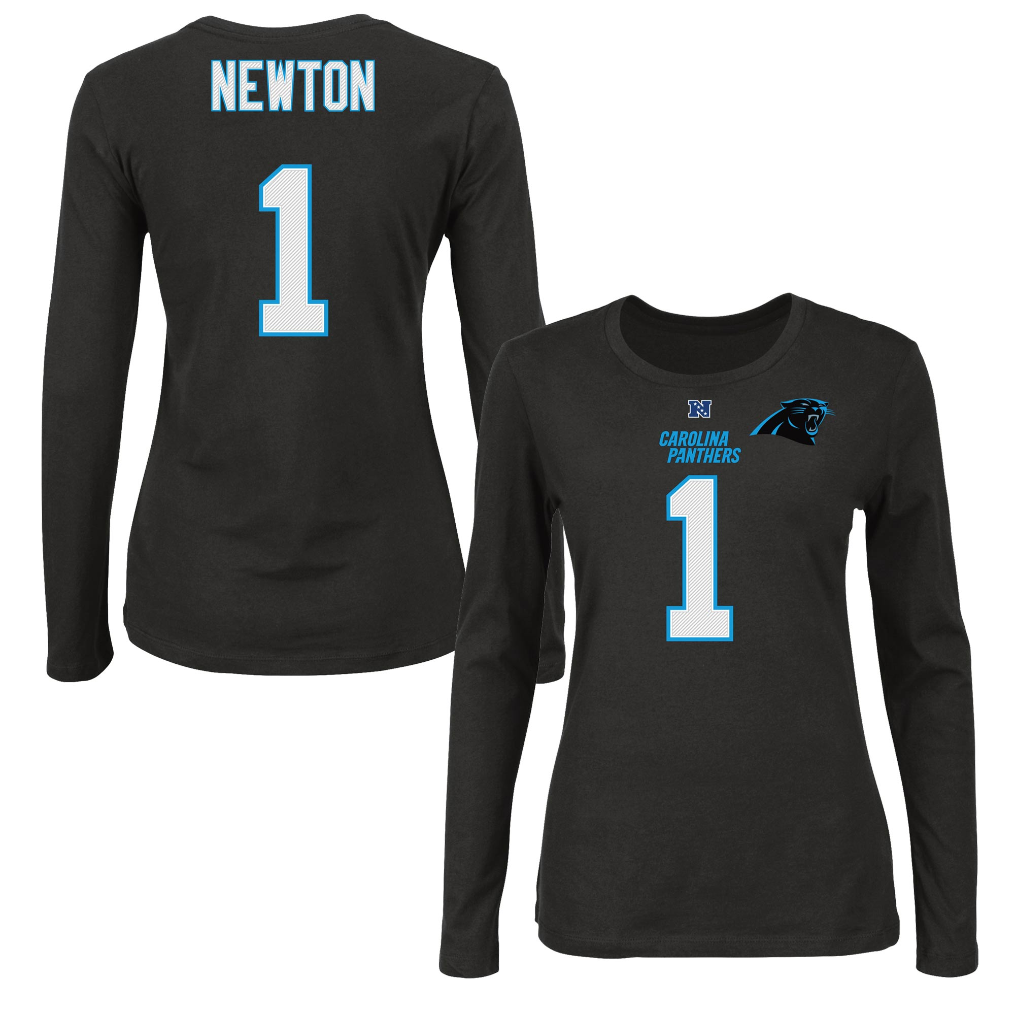 Cam Newton Carolina Panthers Majestic Women's Fair Catch Long Sleeve Name & Number T-Shirt - Black