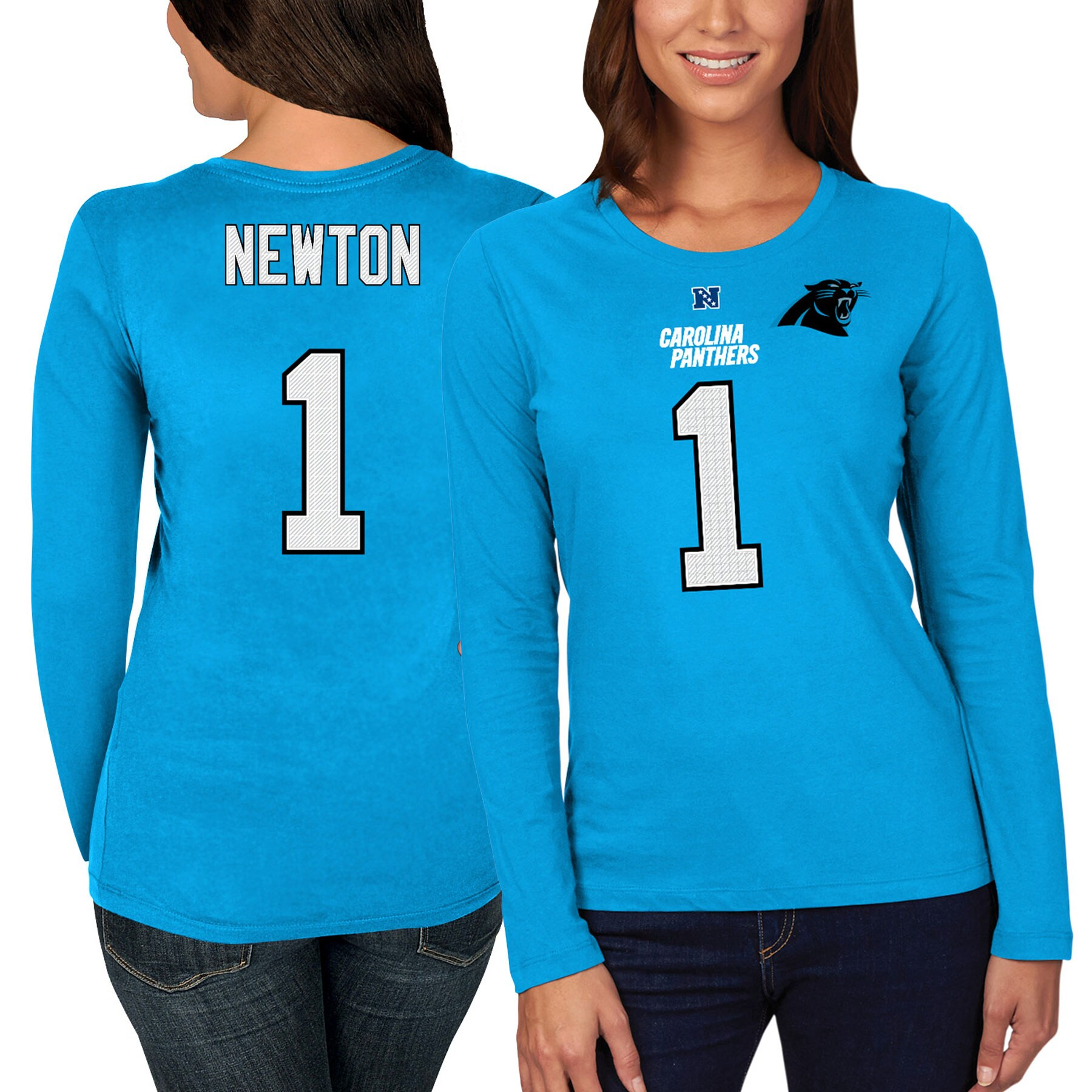 Cam Newton Carolina Panthers Majestic Women's Fair Catch Long Sleeve Name & Number T-Shirt - Blue