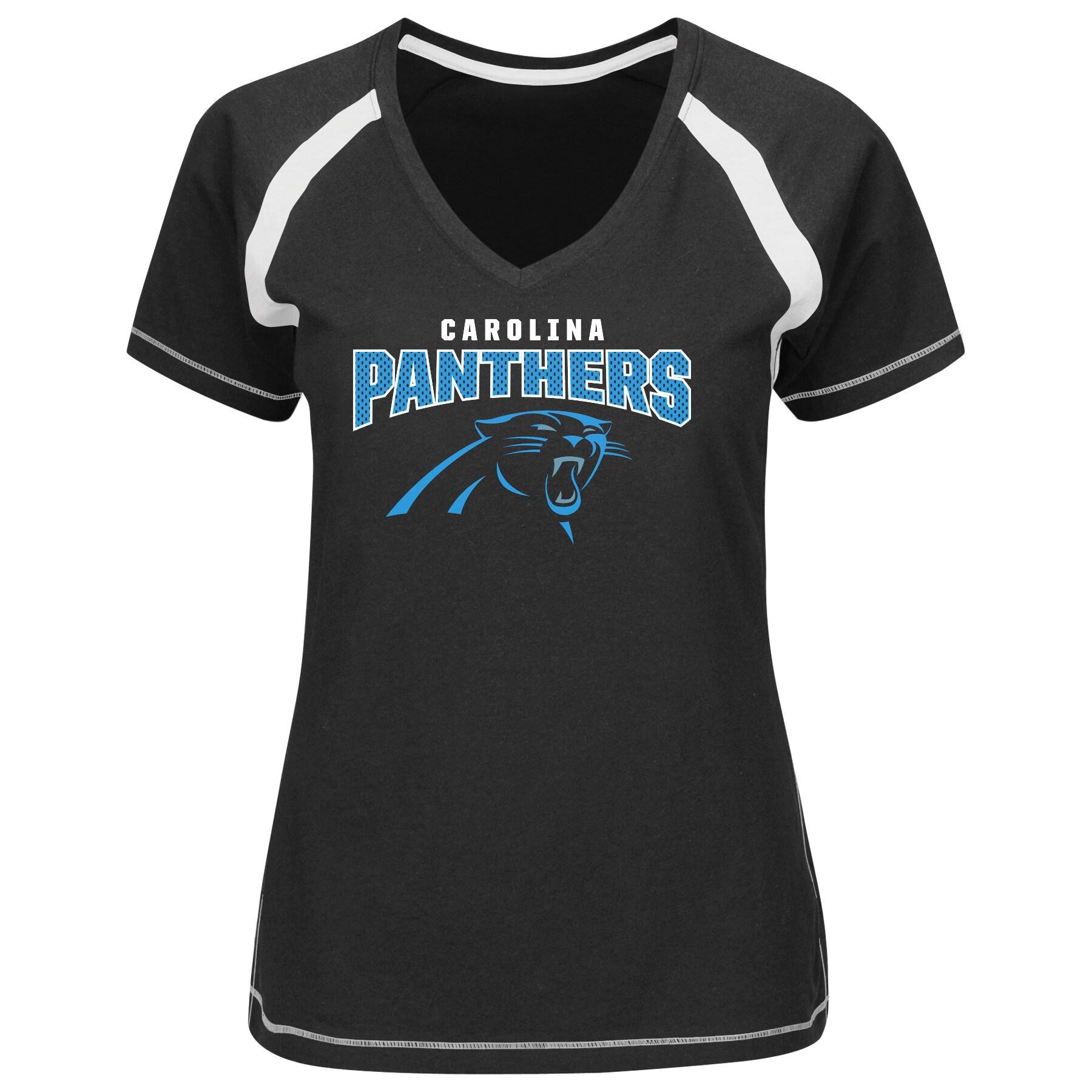 Carolina Panthers Majestic Women's Game Day Tradition V-Neck T-Shirt - Black