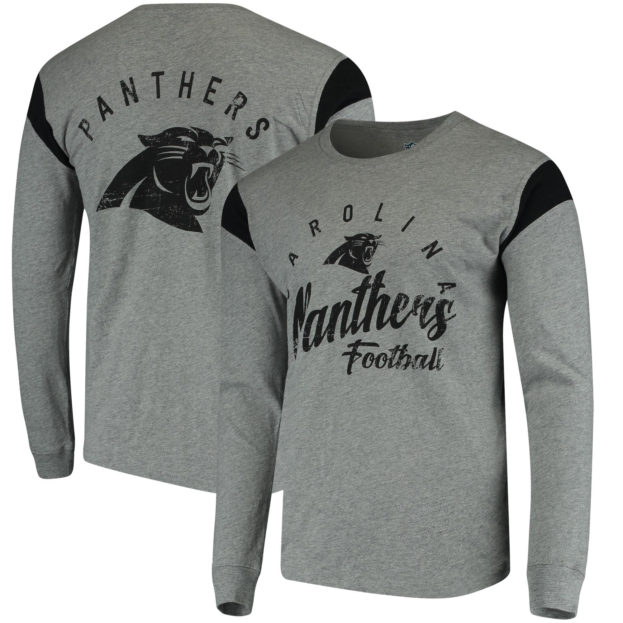 Carolina Panthers Hands High Receiver Long Sleeve T-Shirt - Gray/Black