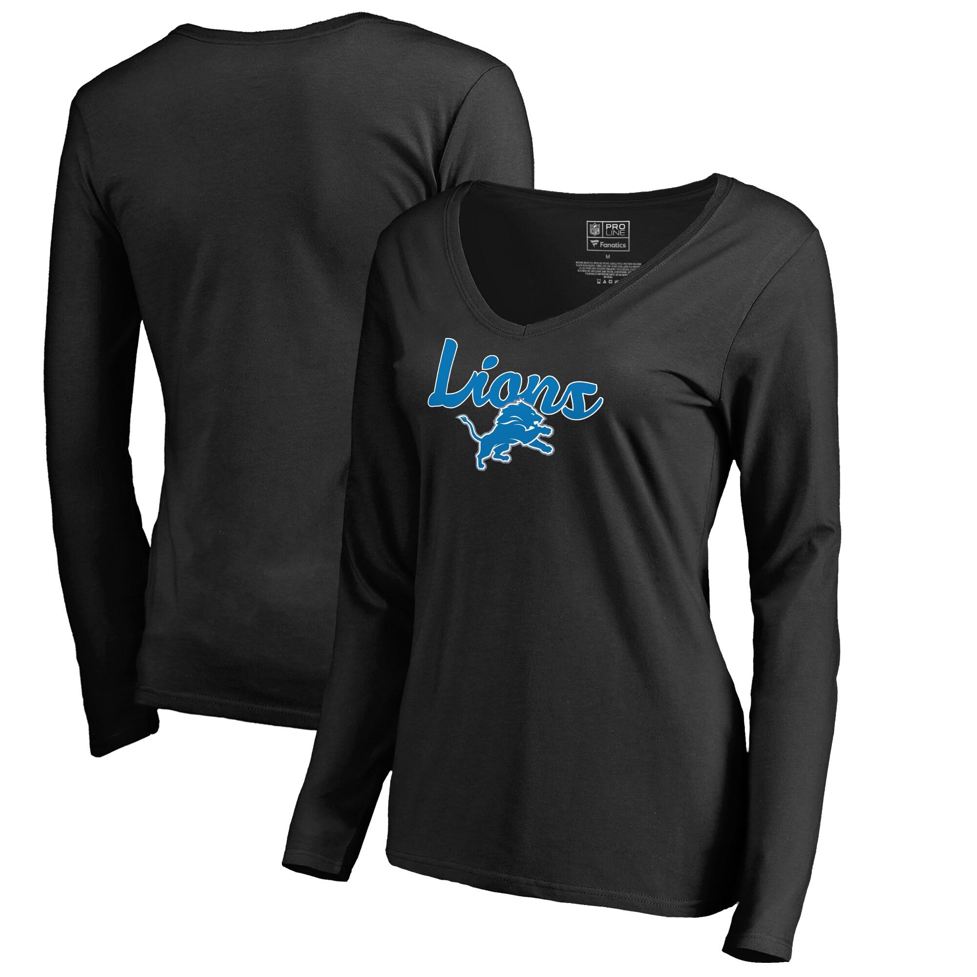 Detroit Lions NFL Pro Line by Fanatics Branded Women's Freehand Long Sleeve V-Neck T-Shirt - Black