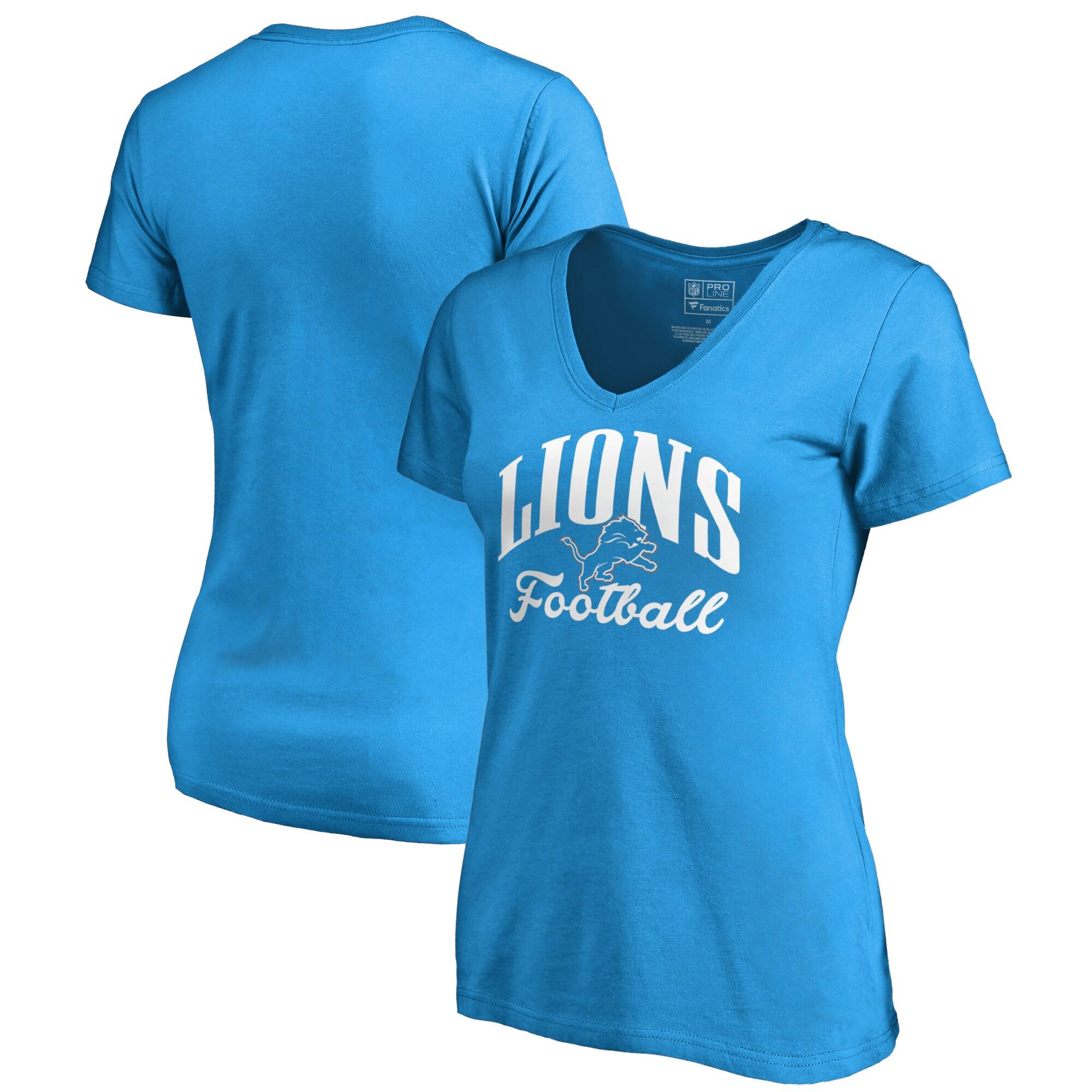 Detroit Lions NFL Pro Line by Fanatics Branded Women's Victory Script V-Neck T-Shirt - Blue