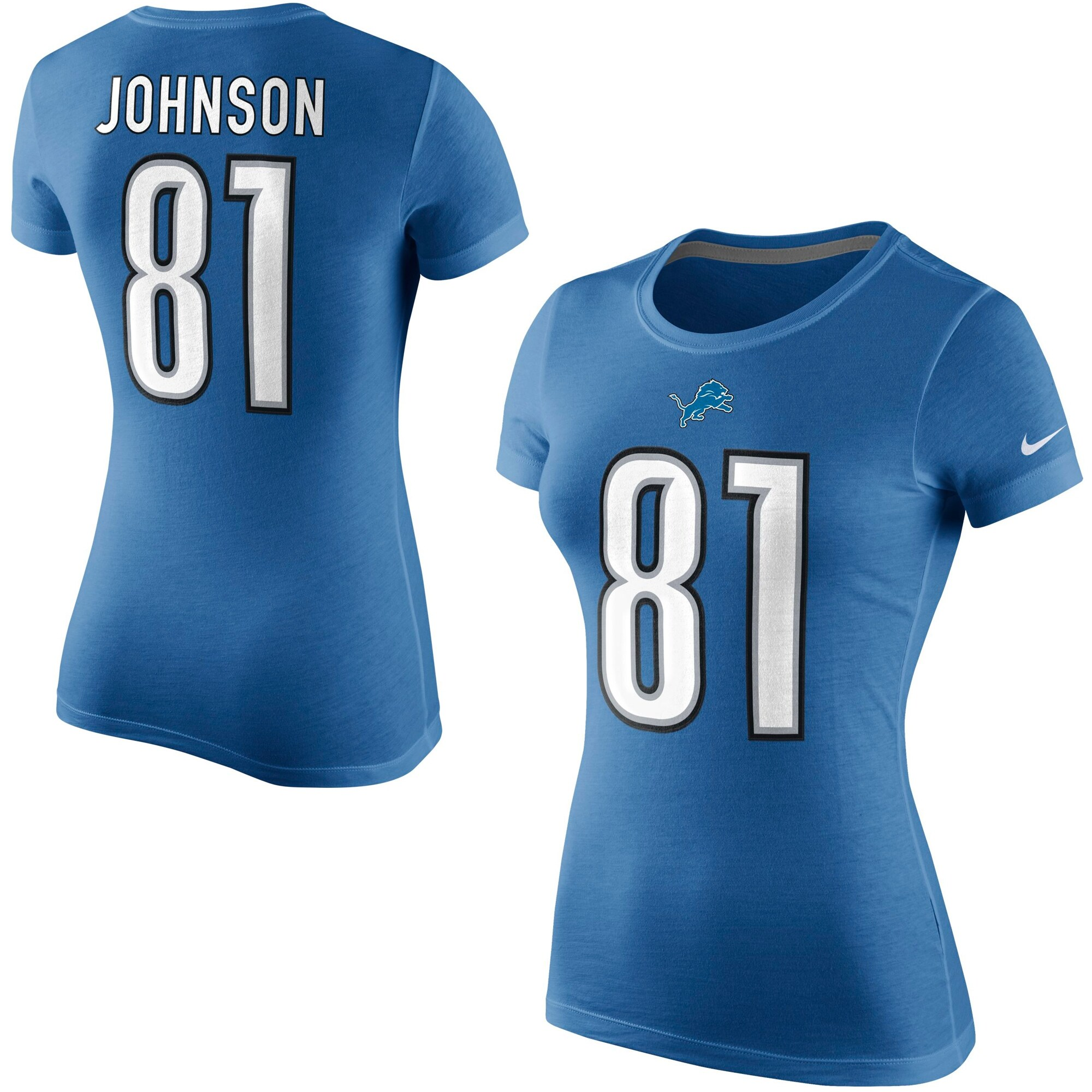 Calvin Johnson Detroit Lions Nike Women's Player Name & Number T-Shirt - Light Blue