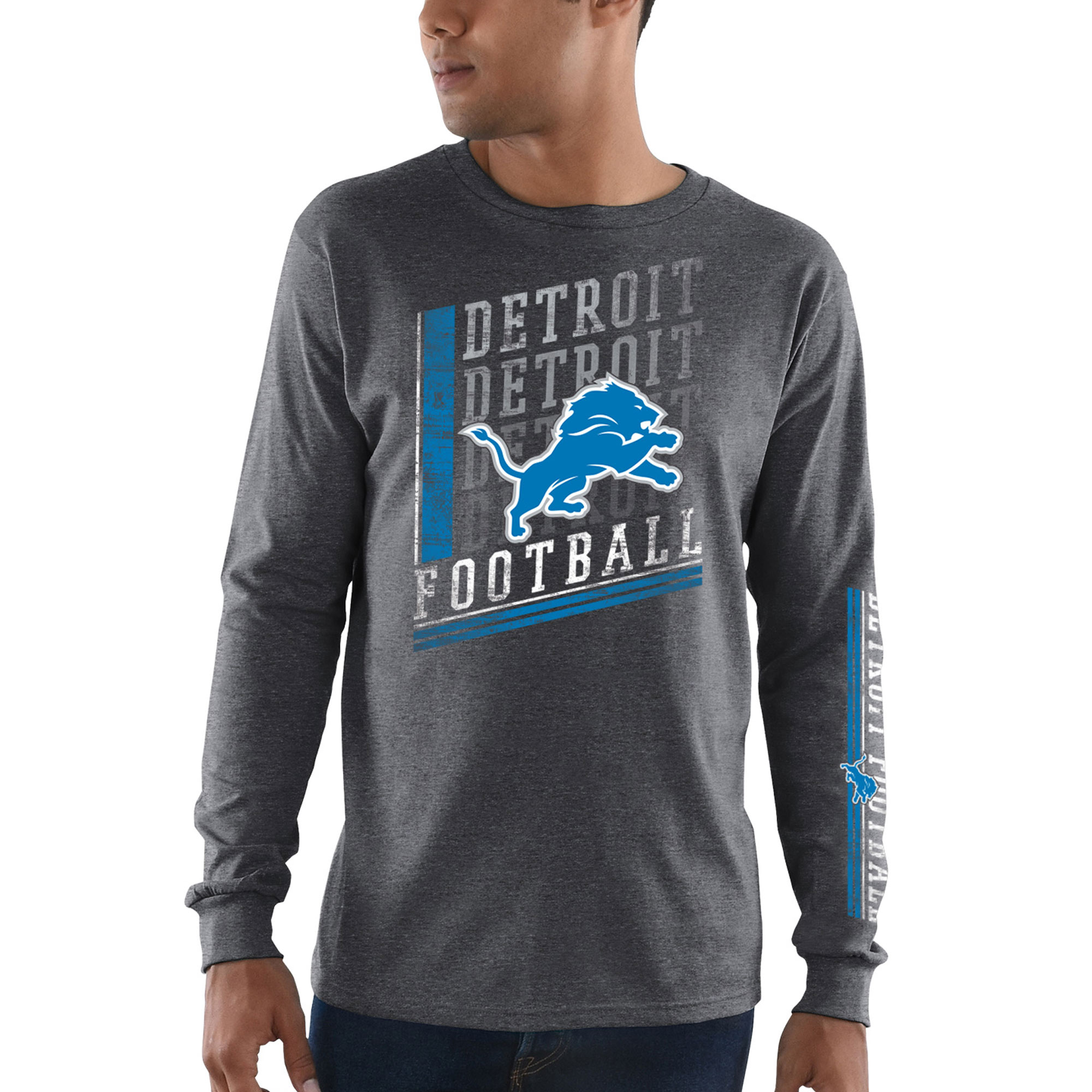 Detroit Lions Majestic Dual Threat Long Sleeve T-Shirt - Heathered Charcoal