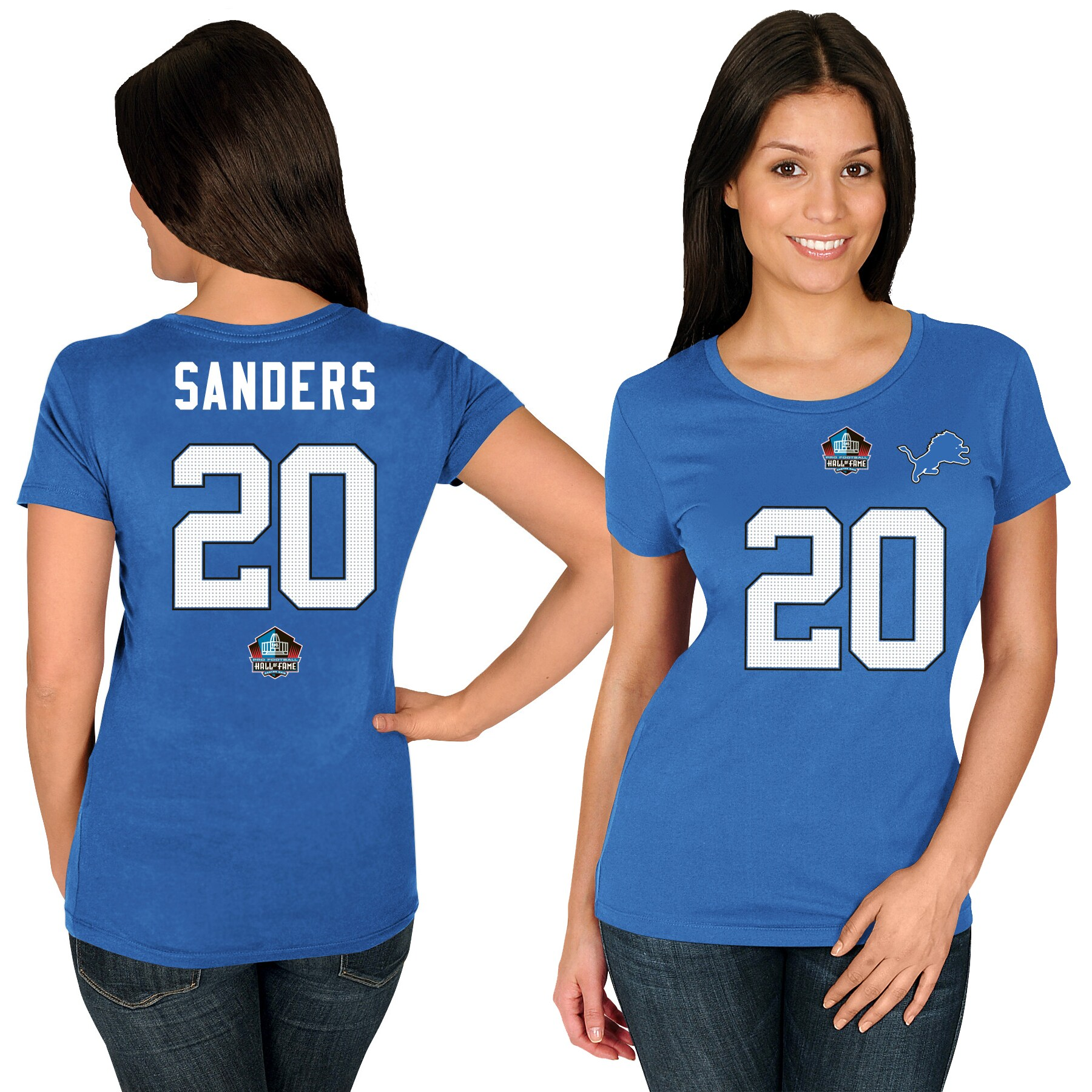 Barry Sanders Detroit Lions Majestic Women's Hall of Fame Fair Catch Name & Number T-Shirt - Blue
