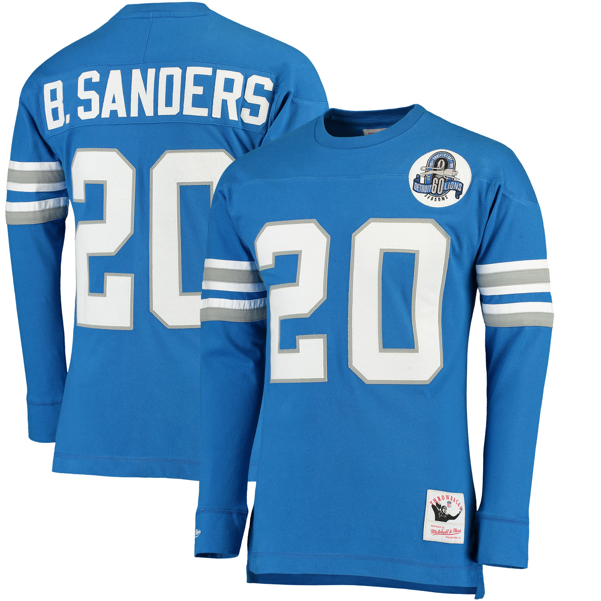 Barry Sanders Detroit Lions Mitchell & Ness Retired Player Name & Number Long Sleeve Top - Blue