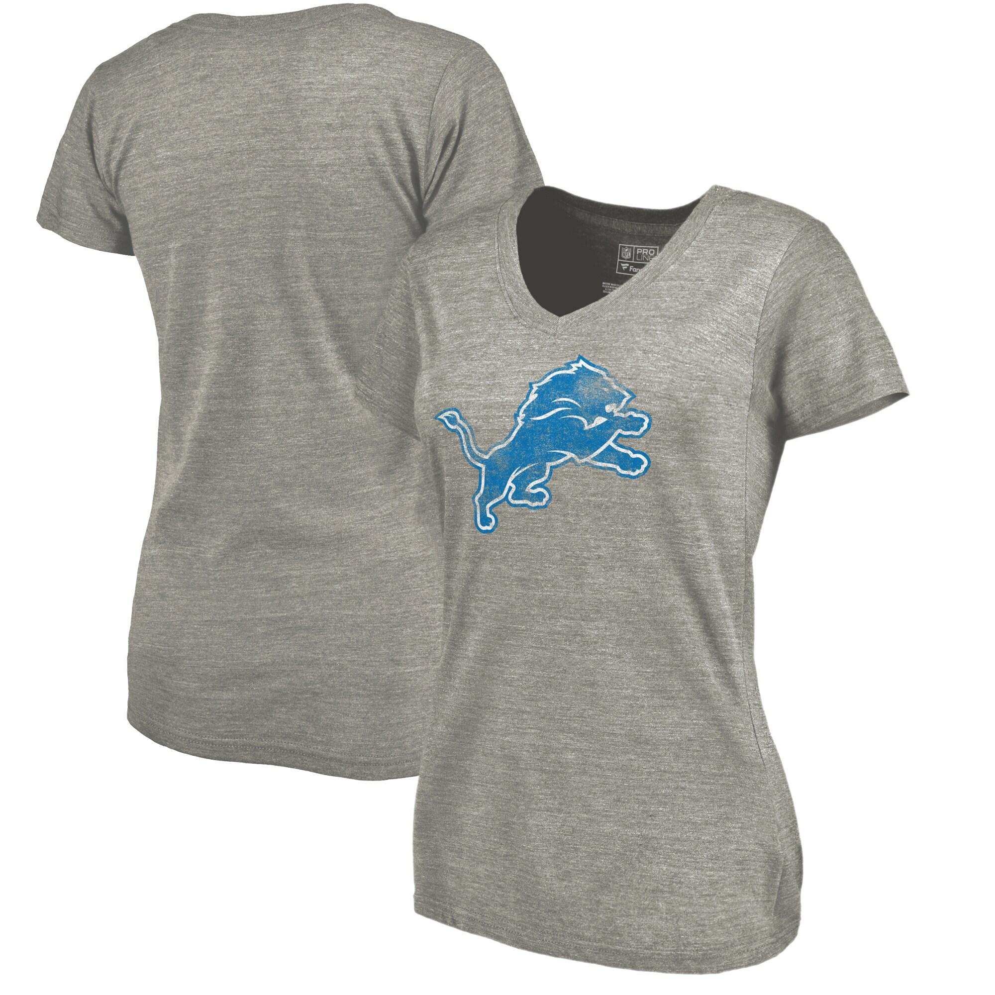 Detroit Lions NFL Pro Line Women's Distressed Team Tri-Blend T-Shirt - Ash